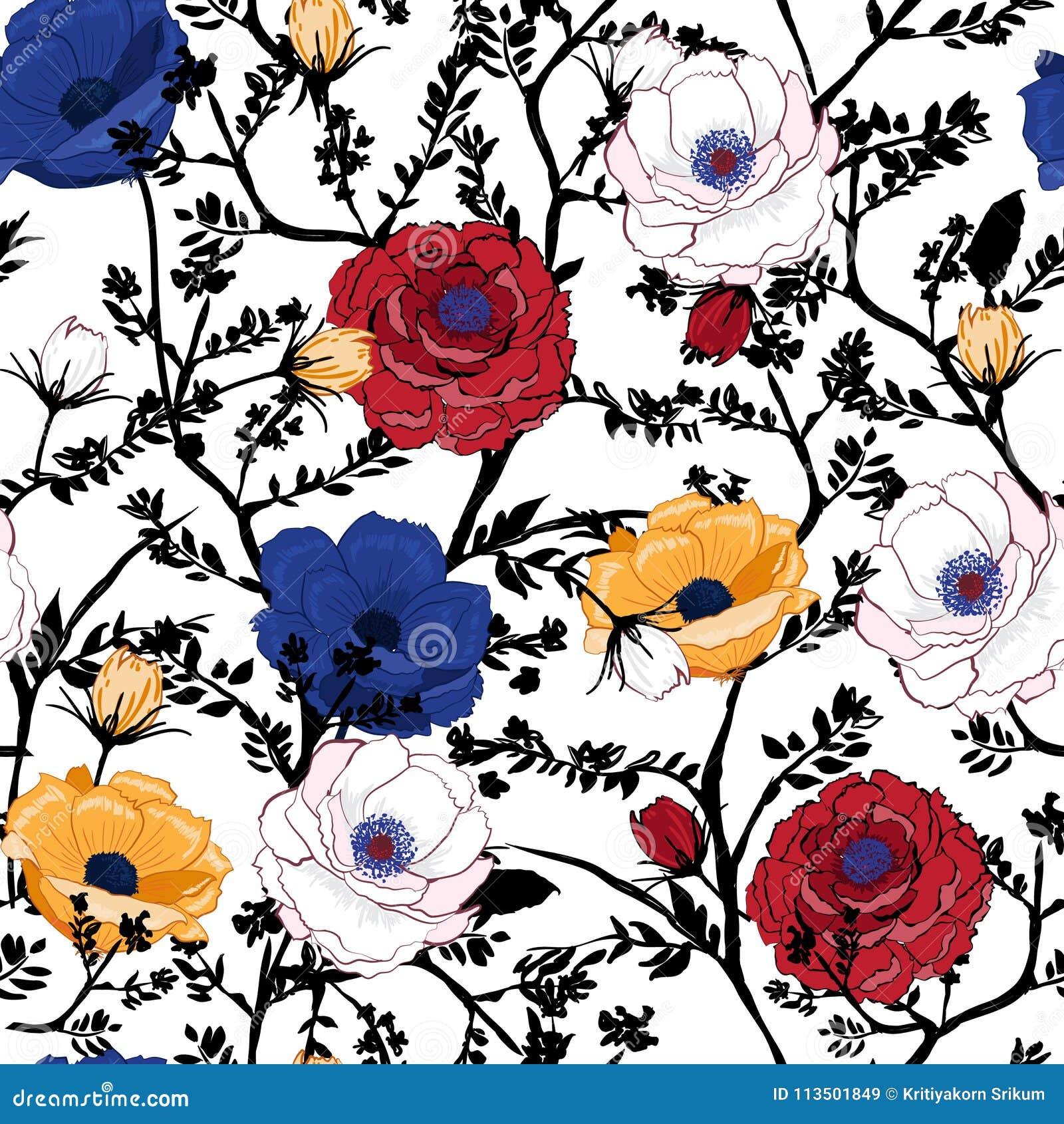 Teste padrão floral de florescência nos muitos tipo das flores botanical