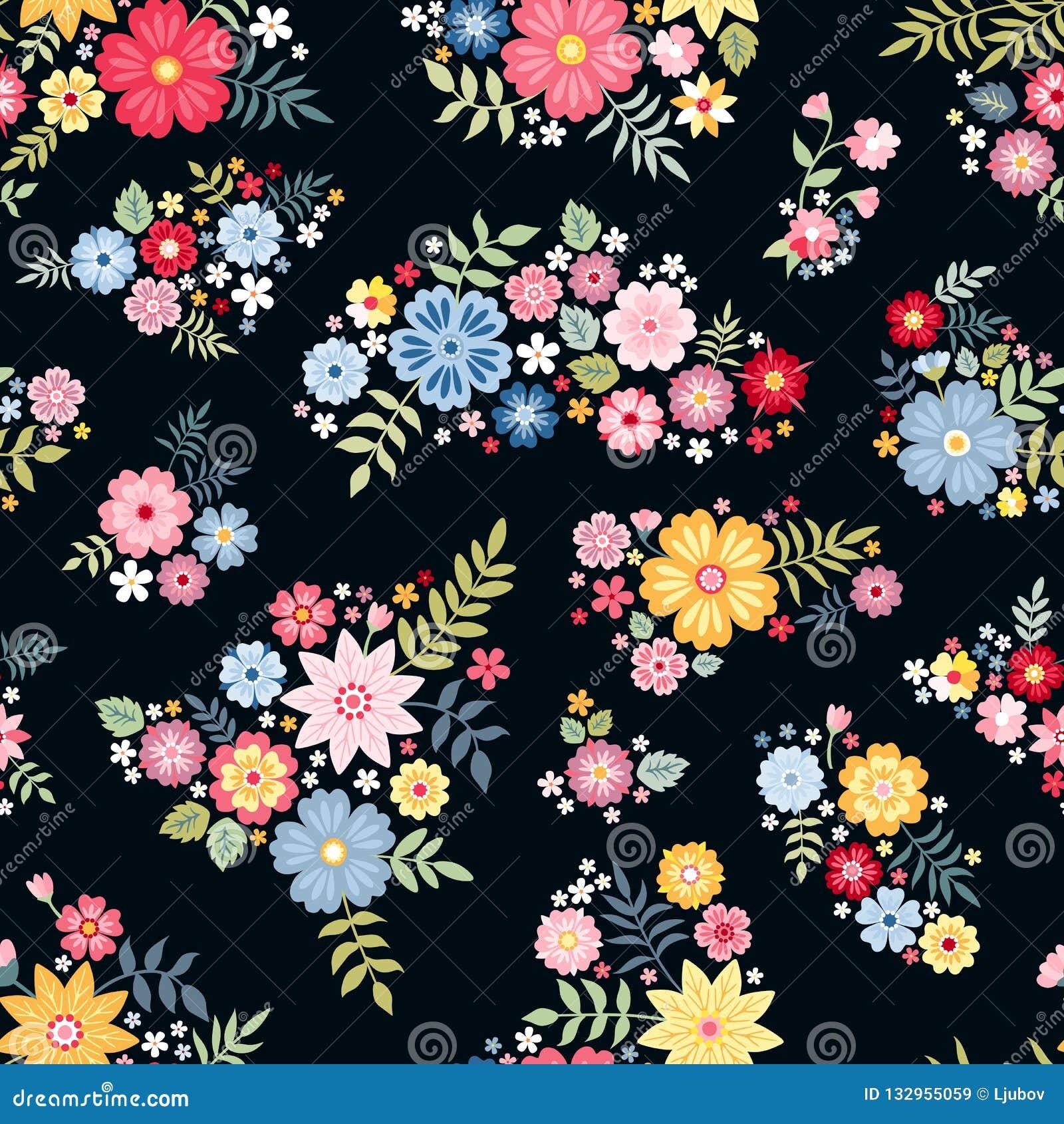 Teste padrão floral ditsy bonito com as flores abstratas bonitos no vetor Fundo sem emenda com ramalhetes coloridos Ilustração do