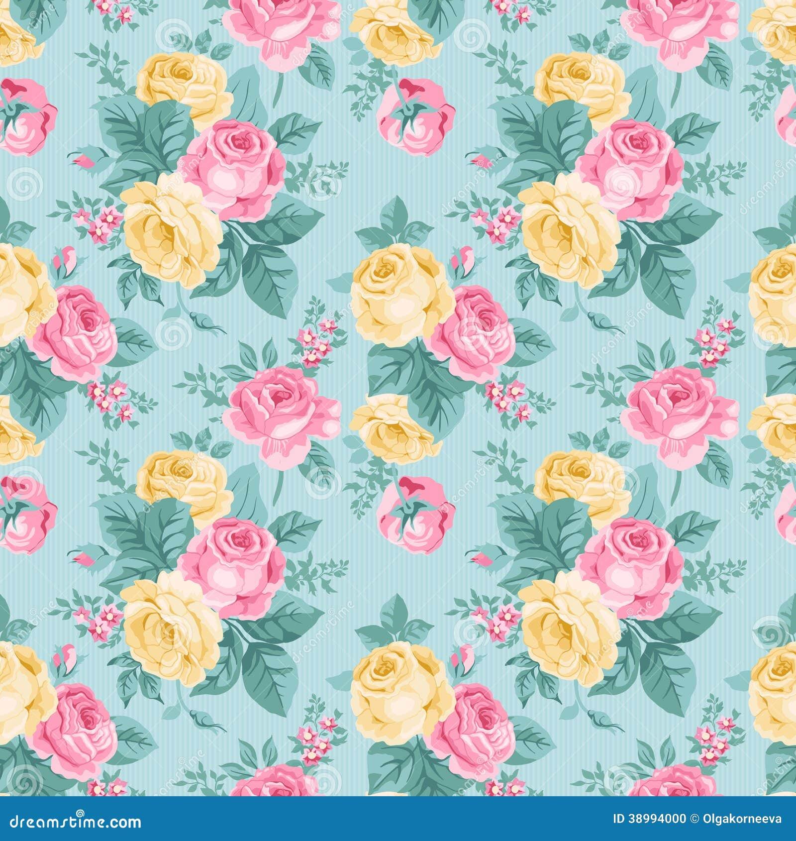 Teste padrão floral do vintage sem emenda do vetor.