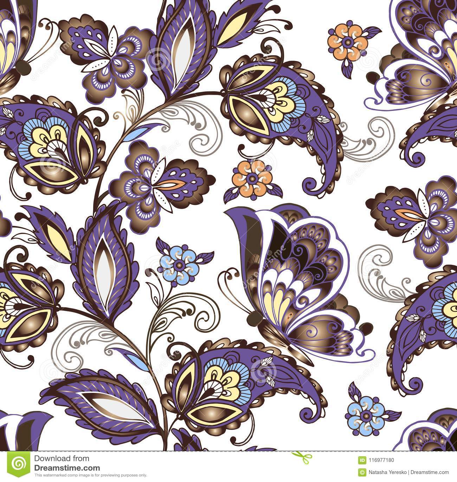 Teste padrão floral oriental sem emenda com borboletas O vintage floresce o ornamento sem emenda em cores azuis Ornamento decorat