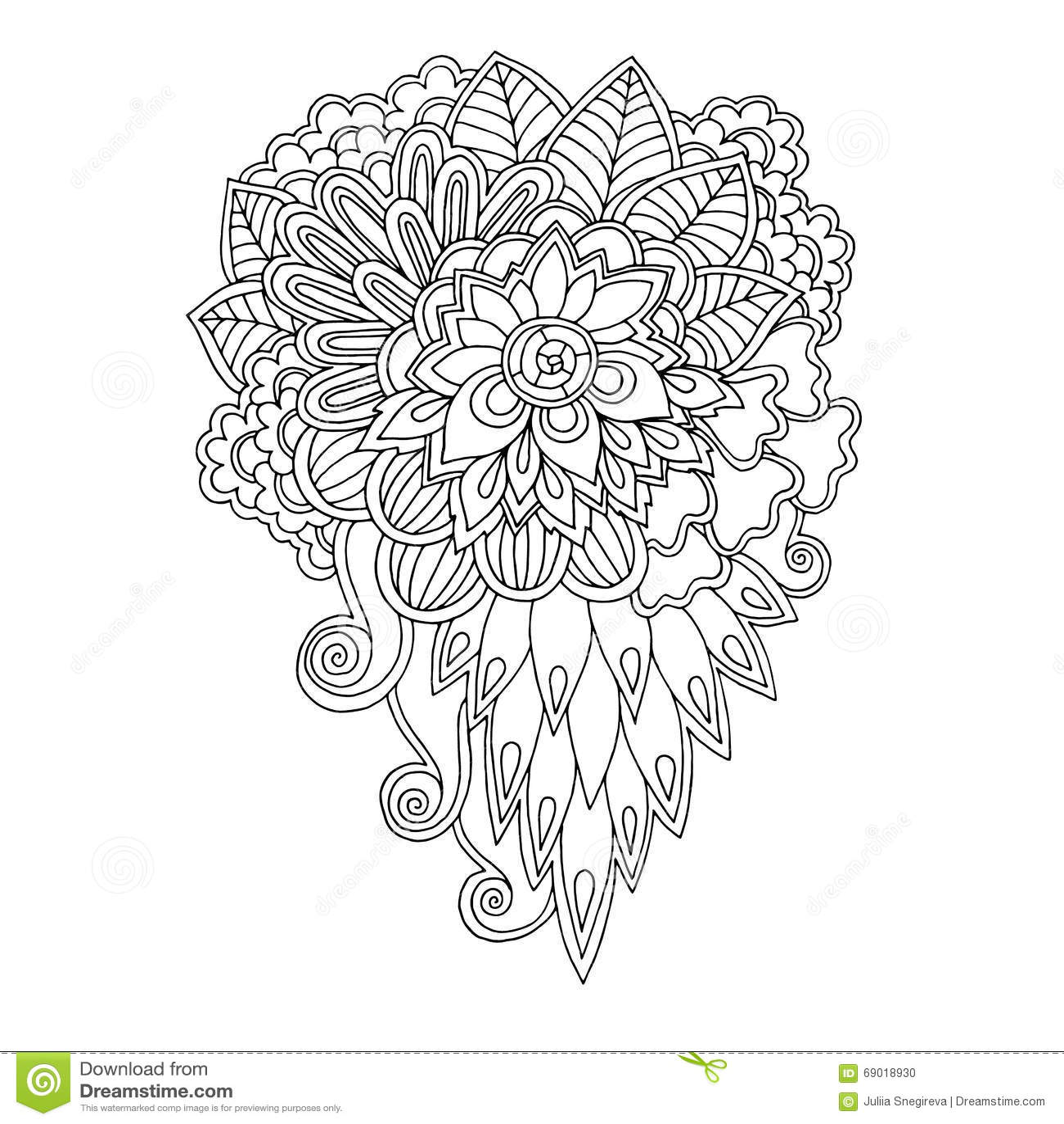 Teste padrão floral preto e branco da garatuja no vetor As garatujas do mehndi de paisley da hena projetam o elemento tribal do p