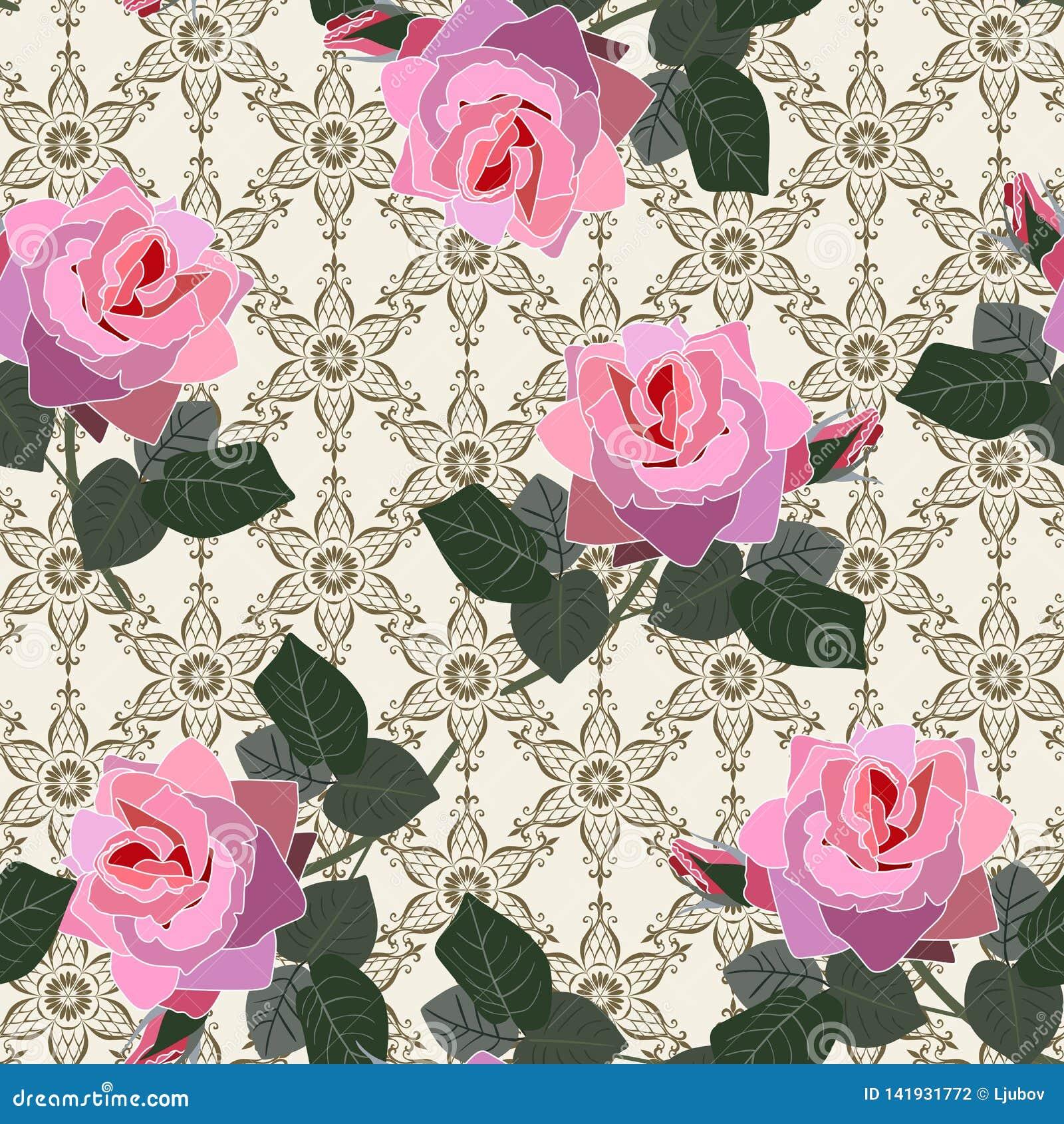 Teste padrão floral sem emenda com as flores cor-de-rosa cor-de-rosa no fundo do laço no vetor