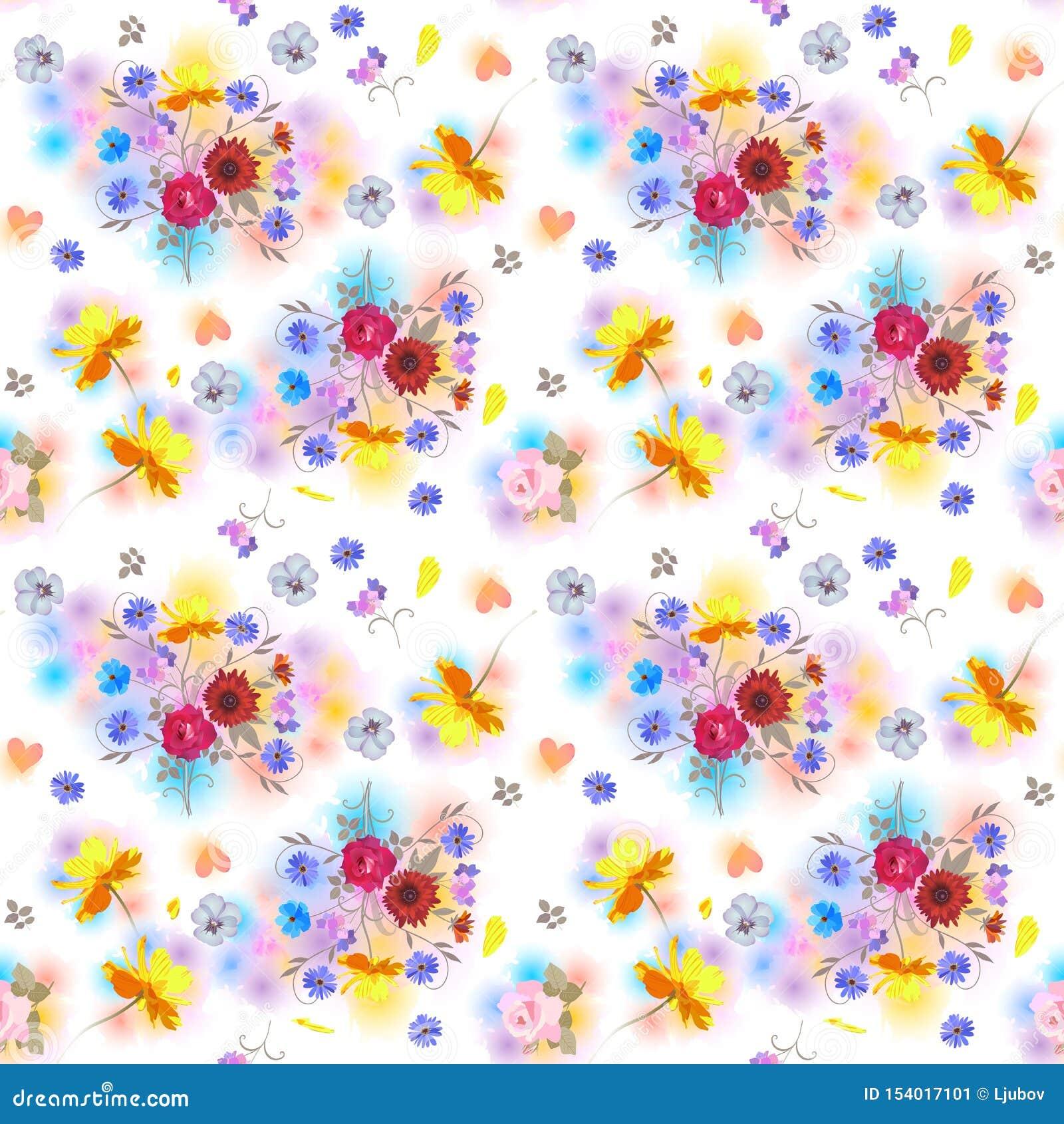 Teste padrão floral sem emenda com os ramalhetes de flores do jardim, de corações e de pontos coloridos no estilo da aquarela C?p
