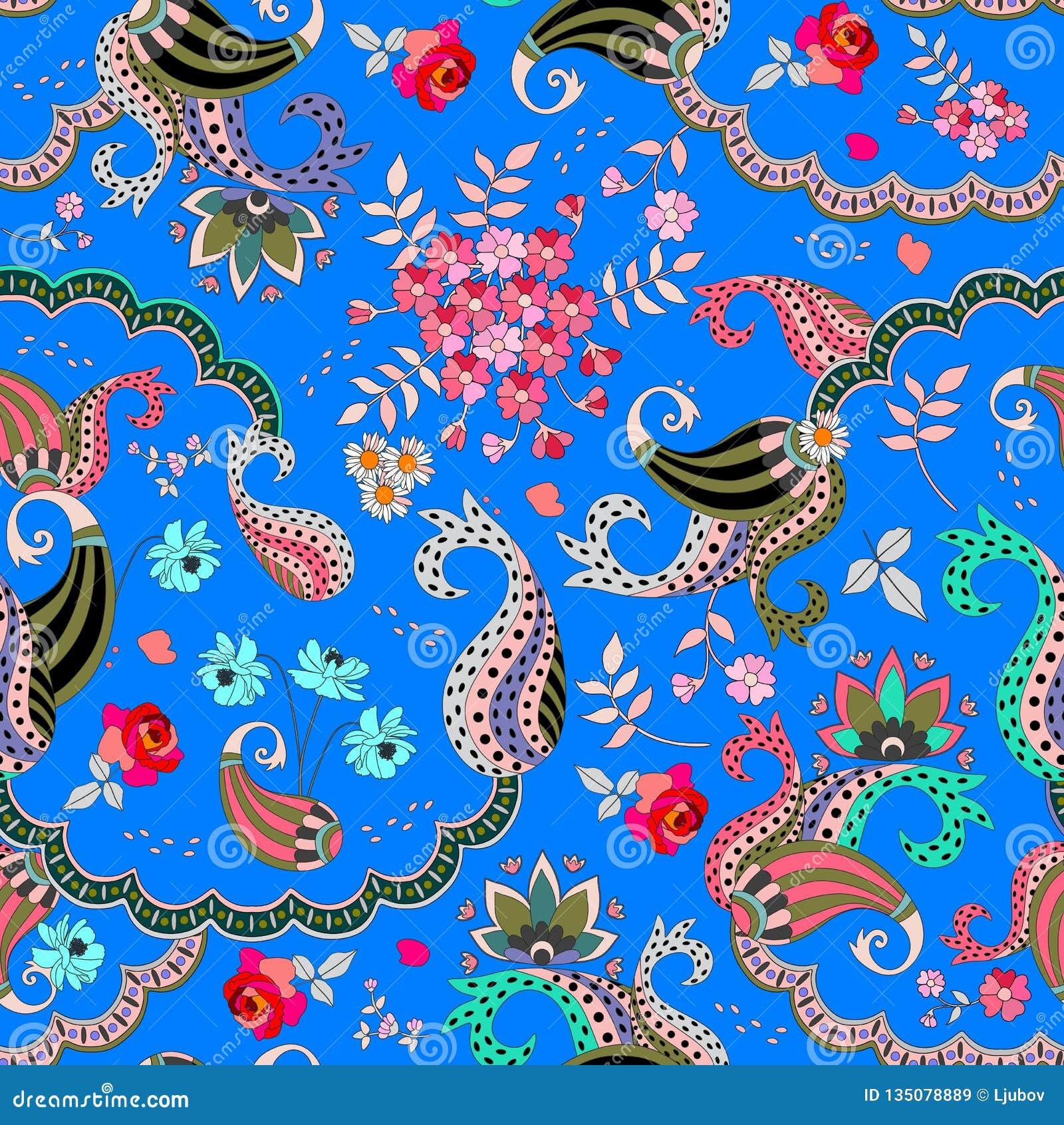 Teste padrão floral sem emenda de paisley no fundo azul no vetor Rosa, flores do cosmos, margarida e folhas e ornamento do buta d