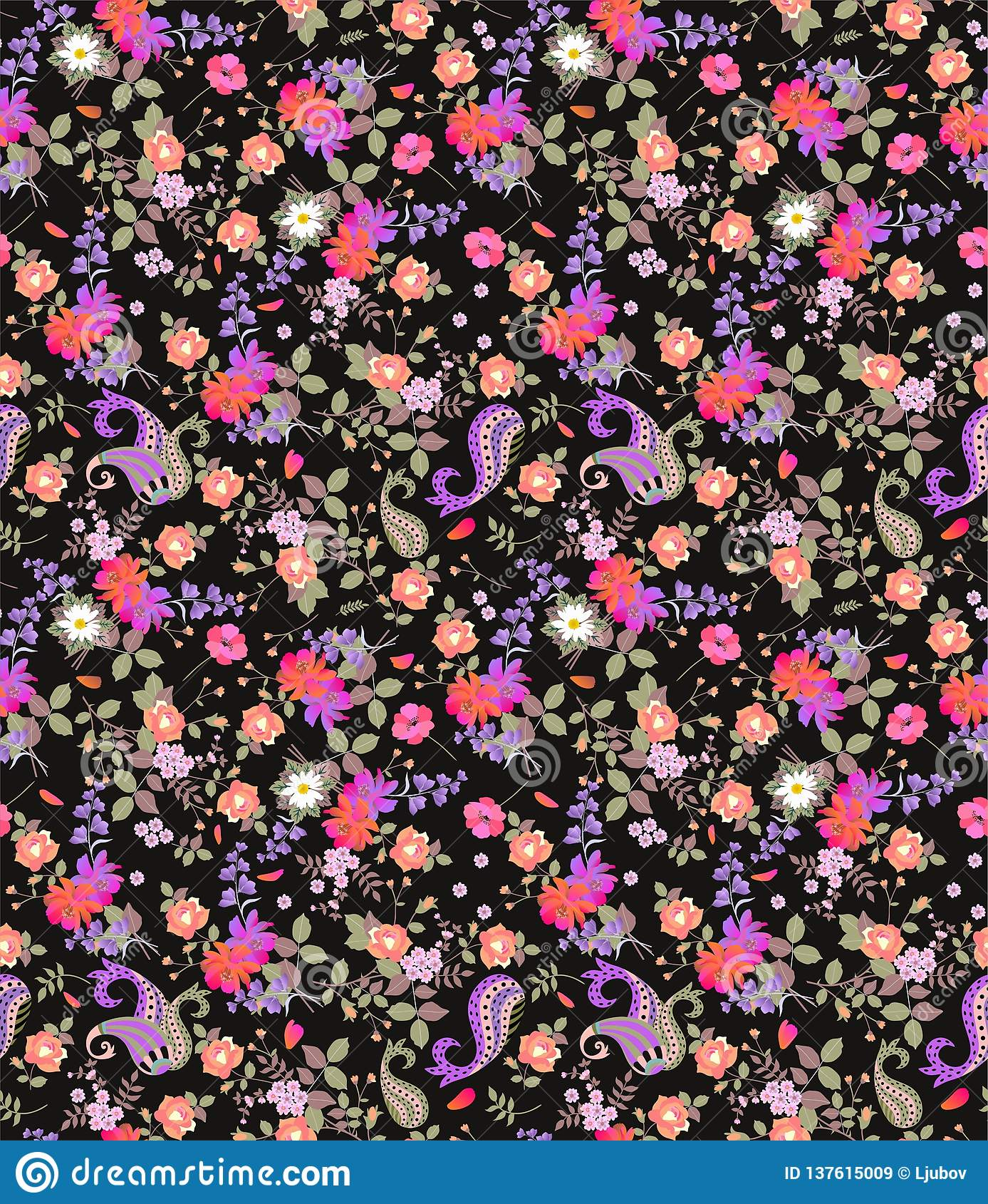 Teste padrão floral sem emenda do verão com paisley, ramalhetes das rosas, da margarida, do cosmos e das flores de sino no fundo