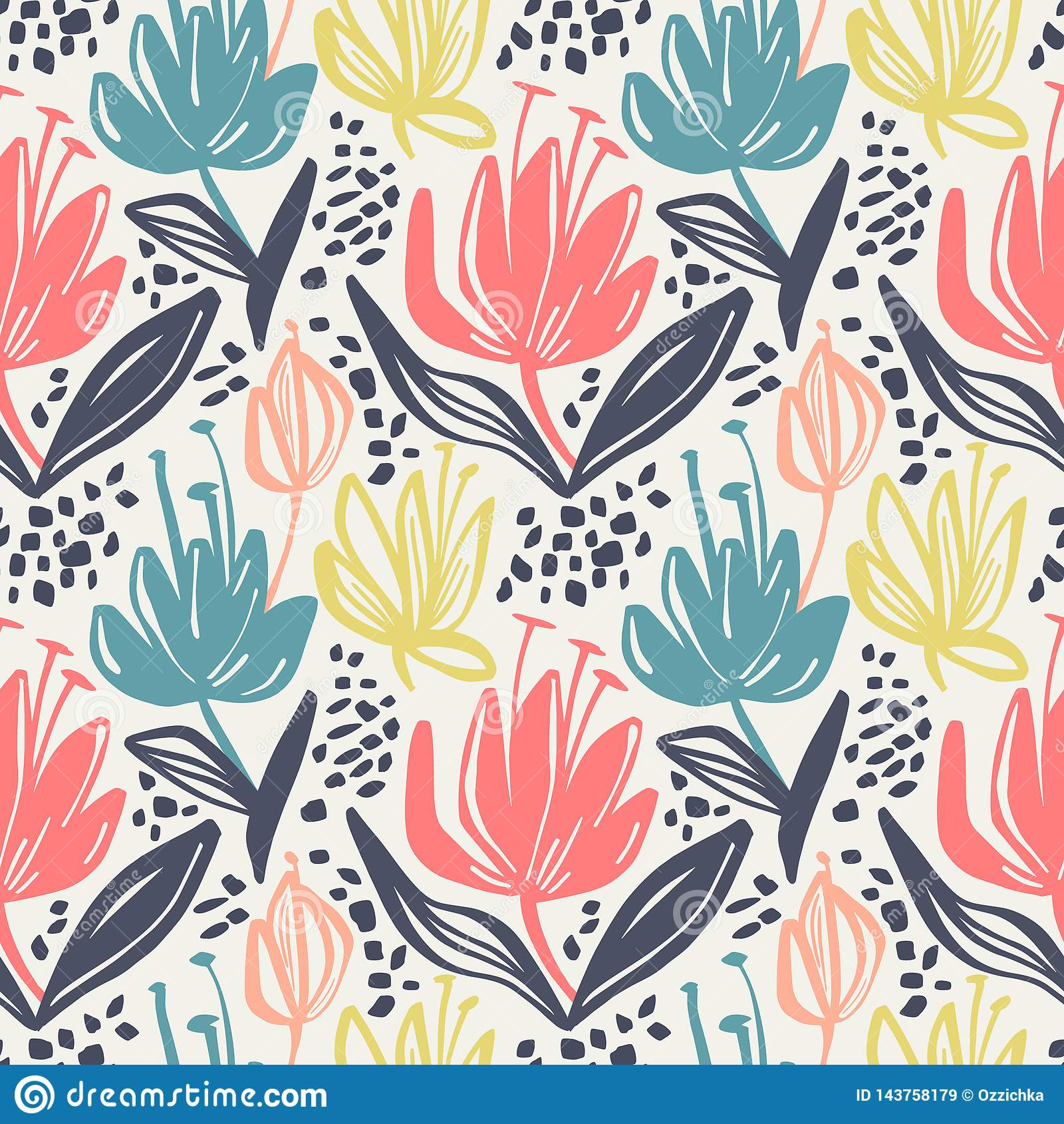 Teste padrão floral sem emenda do vetor com as flores minimalistic da cor muda no fundo claro, projeto botânico da cópia da mola