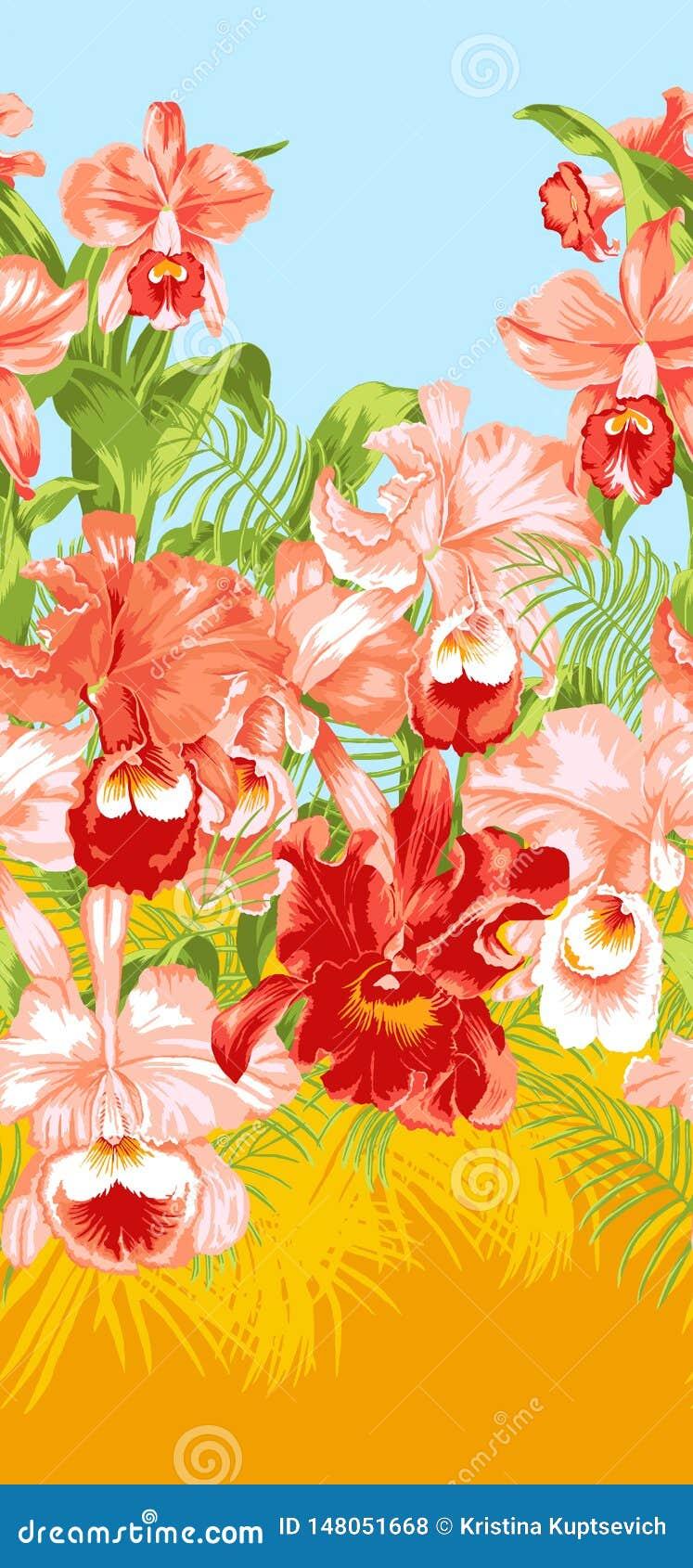 Teste padrão floral tropical com orquídeas e folhas de palmeira