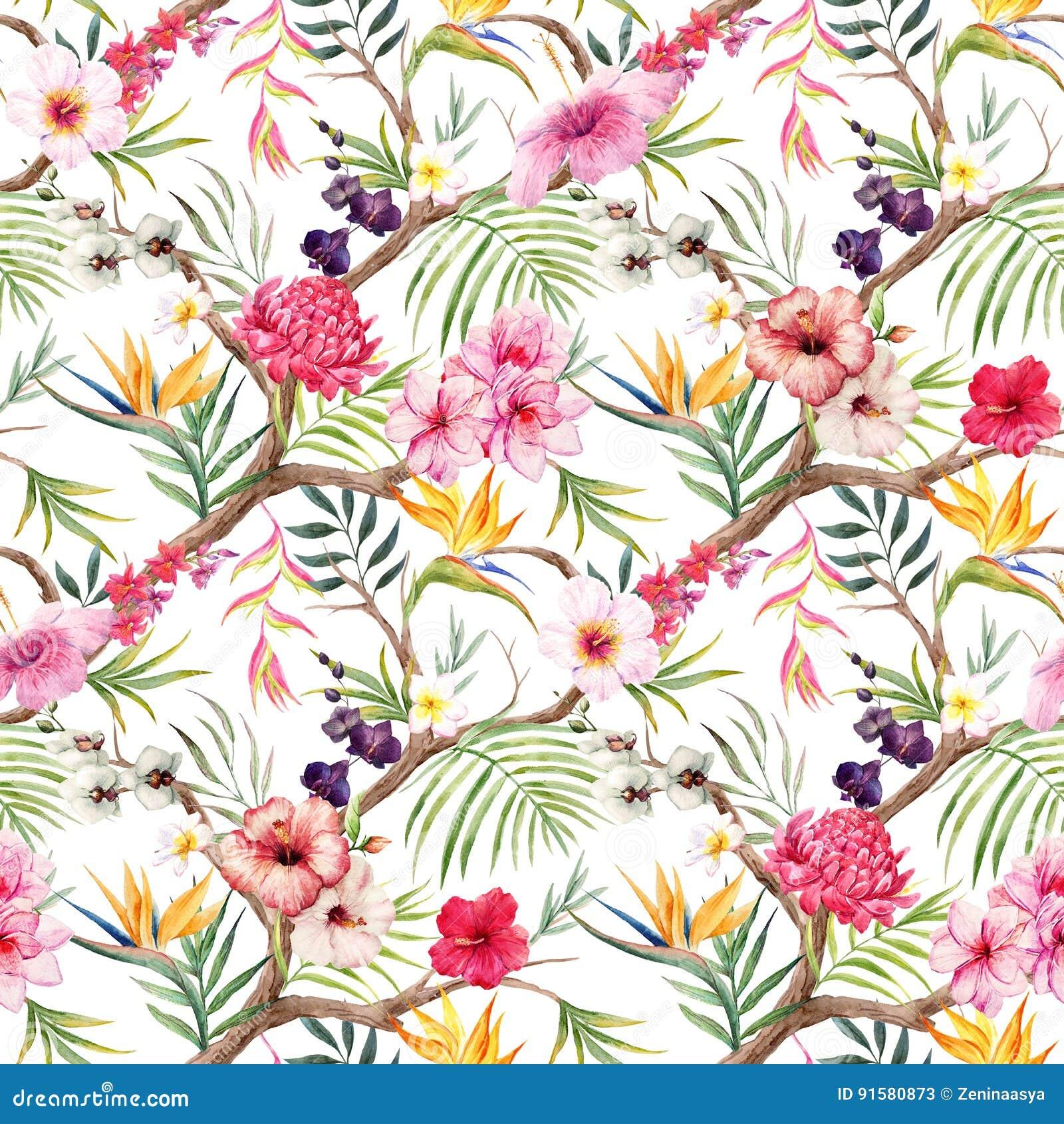 Teste padrão floral tropical da aquarela