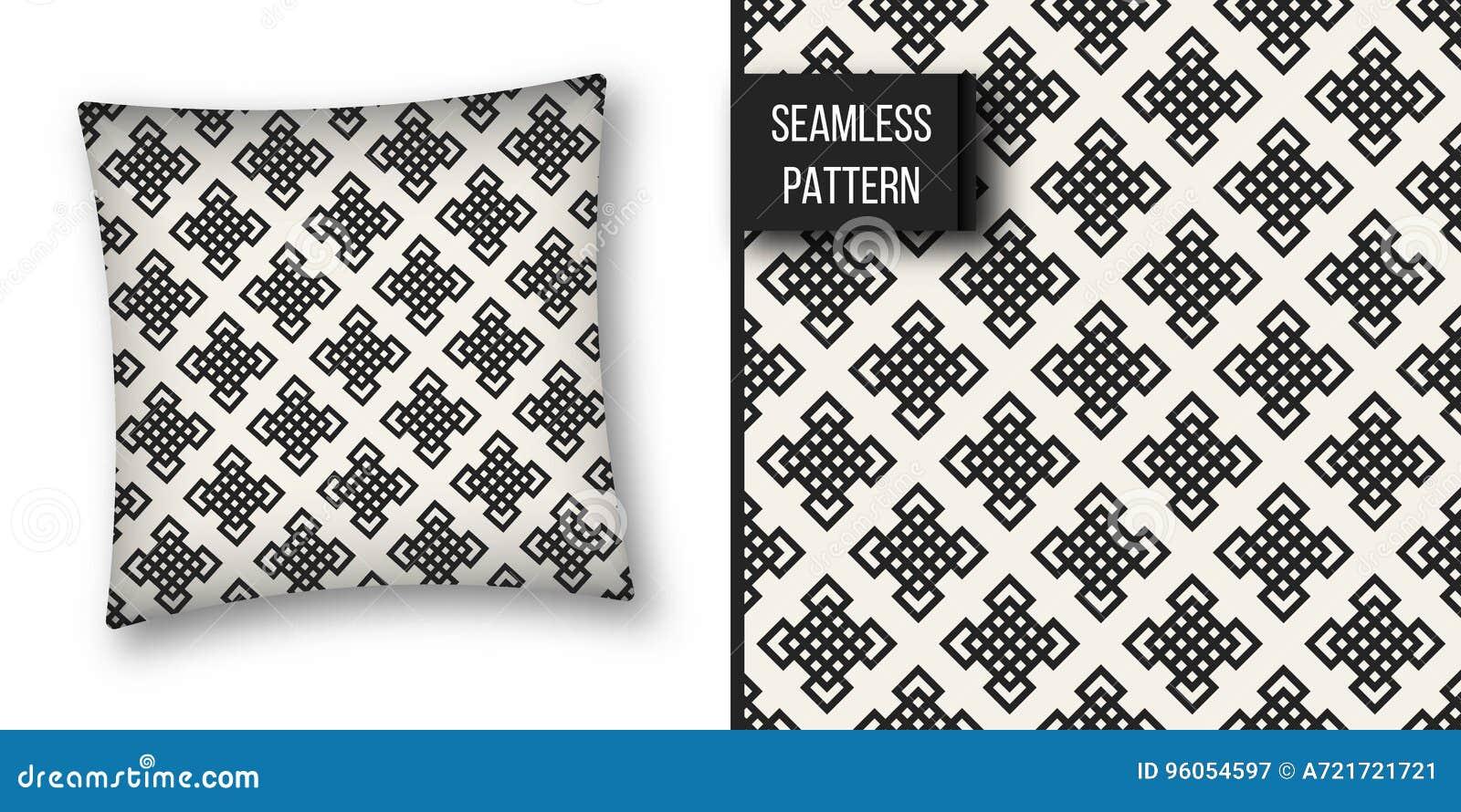 Teste padrão geométrico monocromático do conceito abstrato Fundo mínimo preto e branco Molde criativo da ilustração seamless
