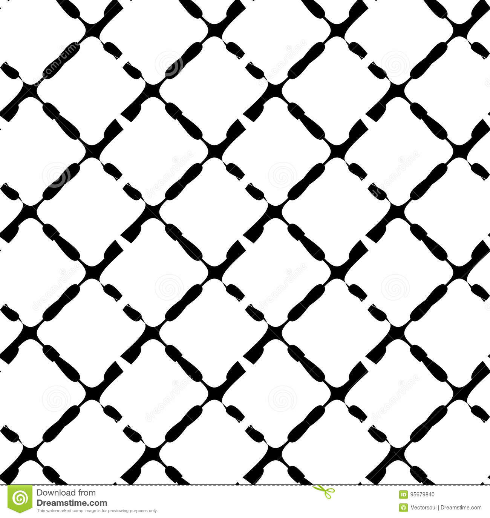 Teste padrão geométrico sem emenda preto e branco Textura repetível/