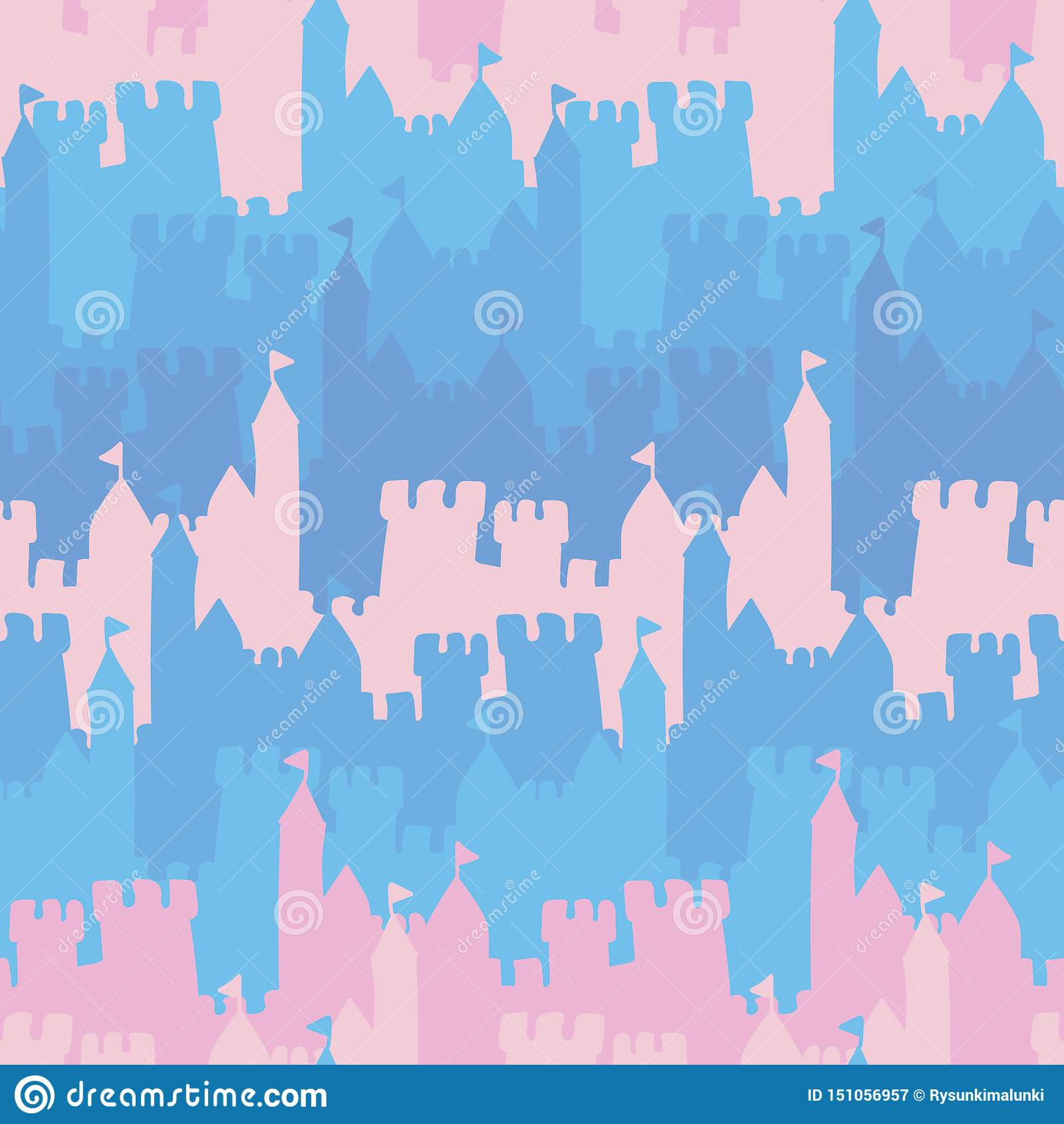 Teste padrão listrado do vetor sem emenda com rosa e os castelos azuis
