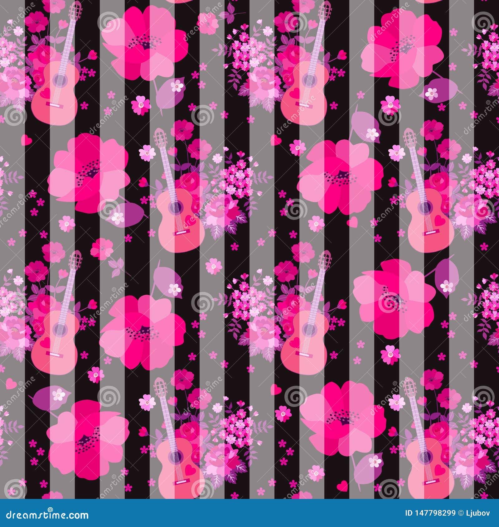 Teste padrão listrado sem emenda com guitarra, grupo de flores do jardim e papoilas cor-de-rosa enormes no fundo preto C?pia para
