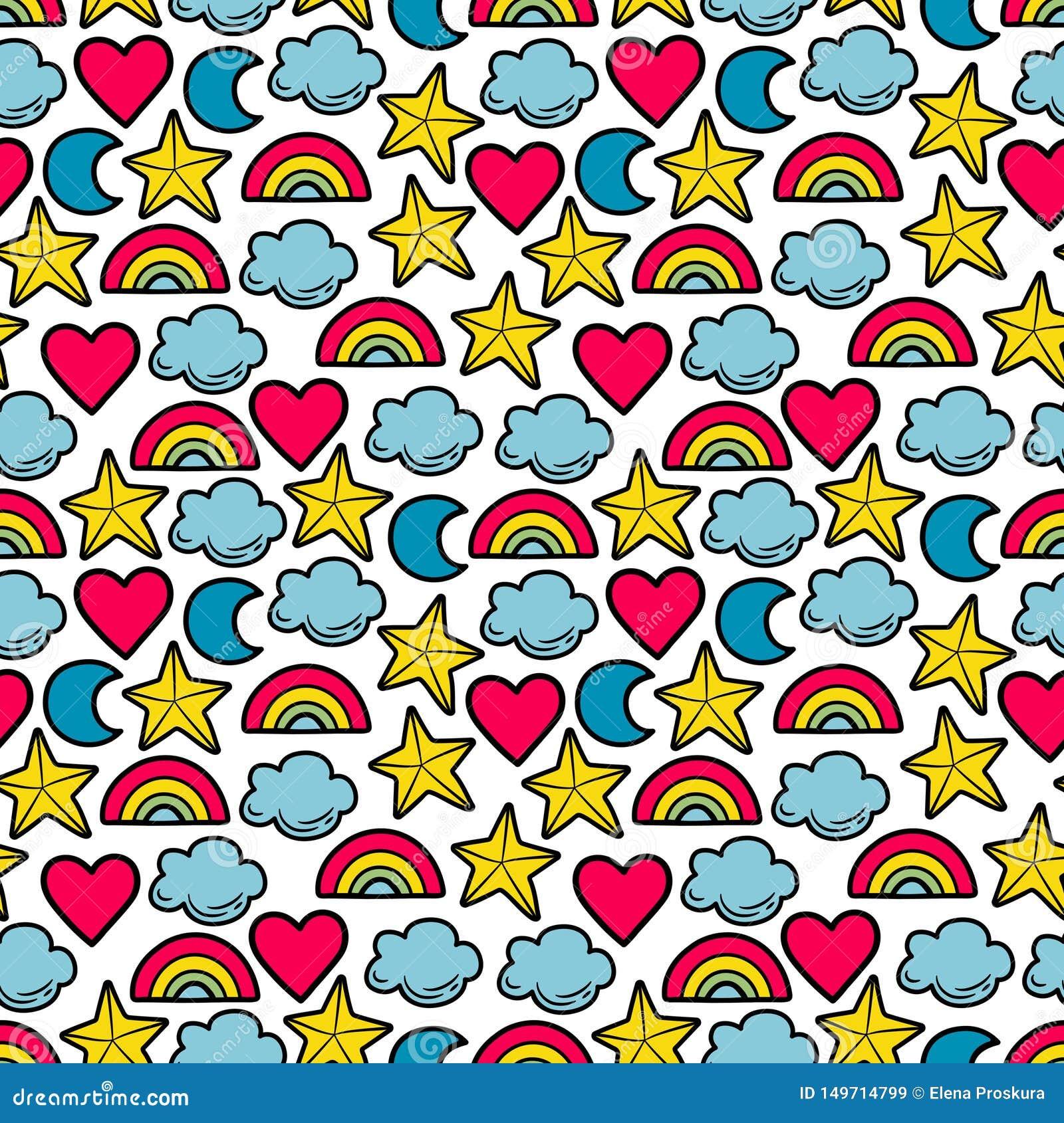 Teste padrão multi-colorido sem emenda com estrelas, nuvens, lua, arco-íris