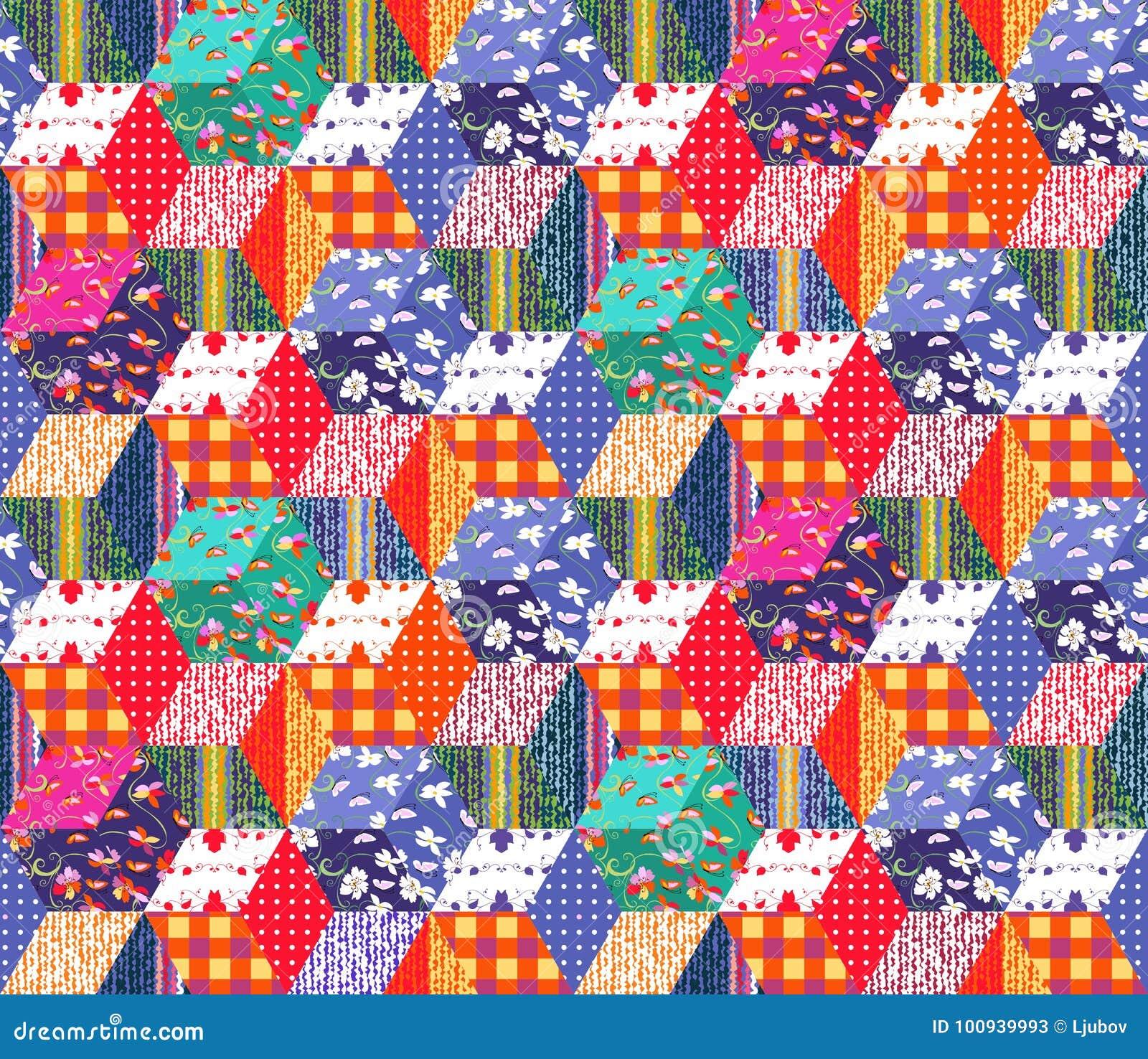 Teste padrão multicolorido brilhante dos retalhos Ilustração sem emenda do vetor