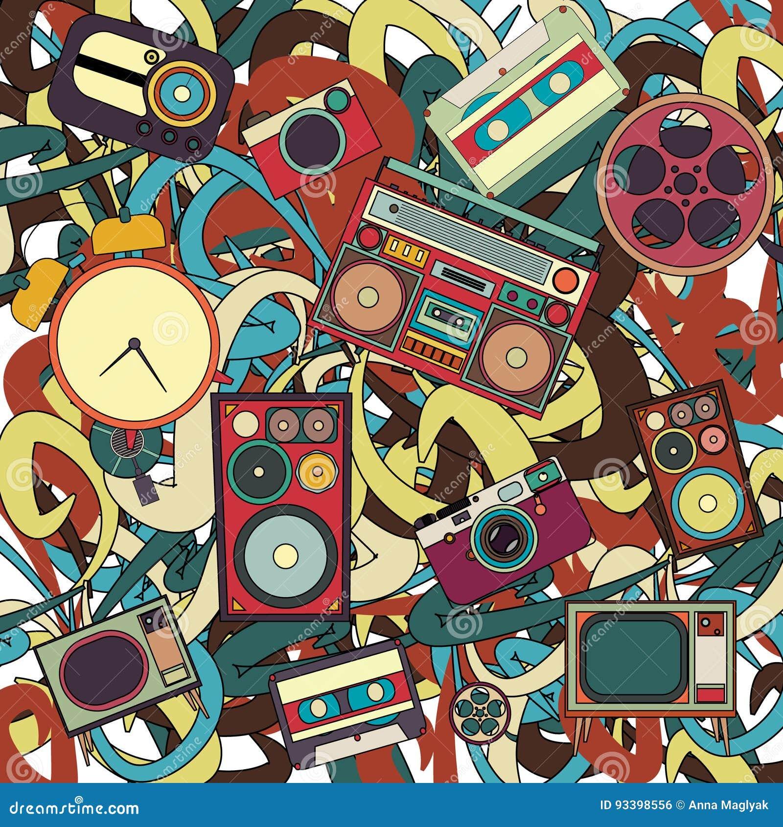 Teste padrão musical tirado das garatujas dos desenhos animados mão bonito Detalhado colorido, com lotes dos objetos