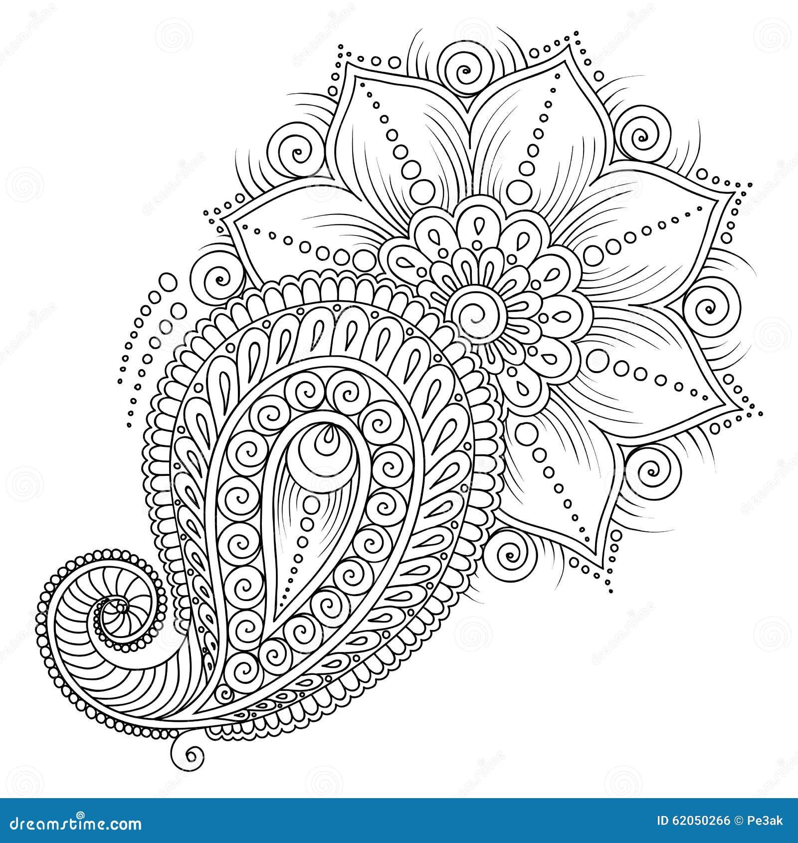 teste padr u00e3o para o livro para colorir elementos florais no estilo indiano ilustra u00e7 u00e3o do vetor