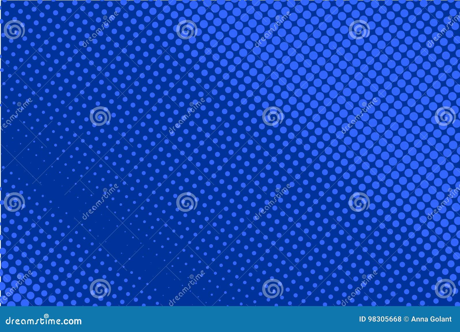 Teste padrão pontilhado cômico Cor azul Contexto retro do fundo de intervalo mínimo com círculos, pontos