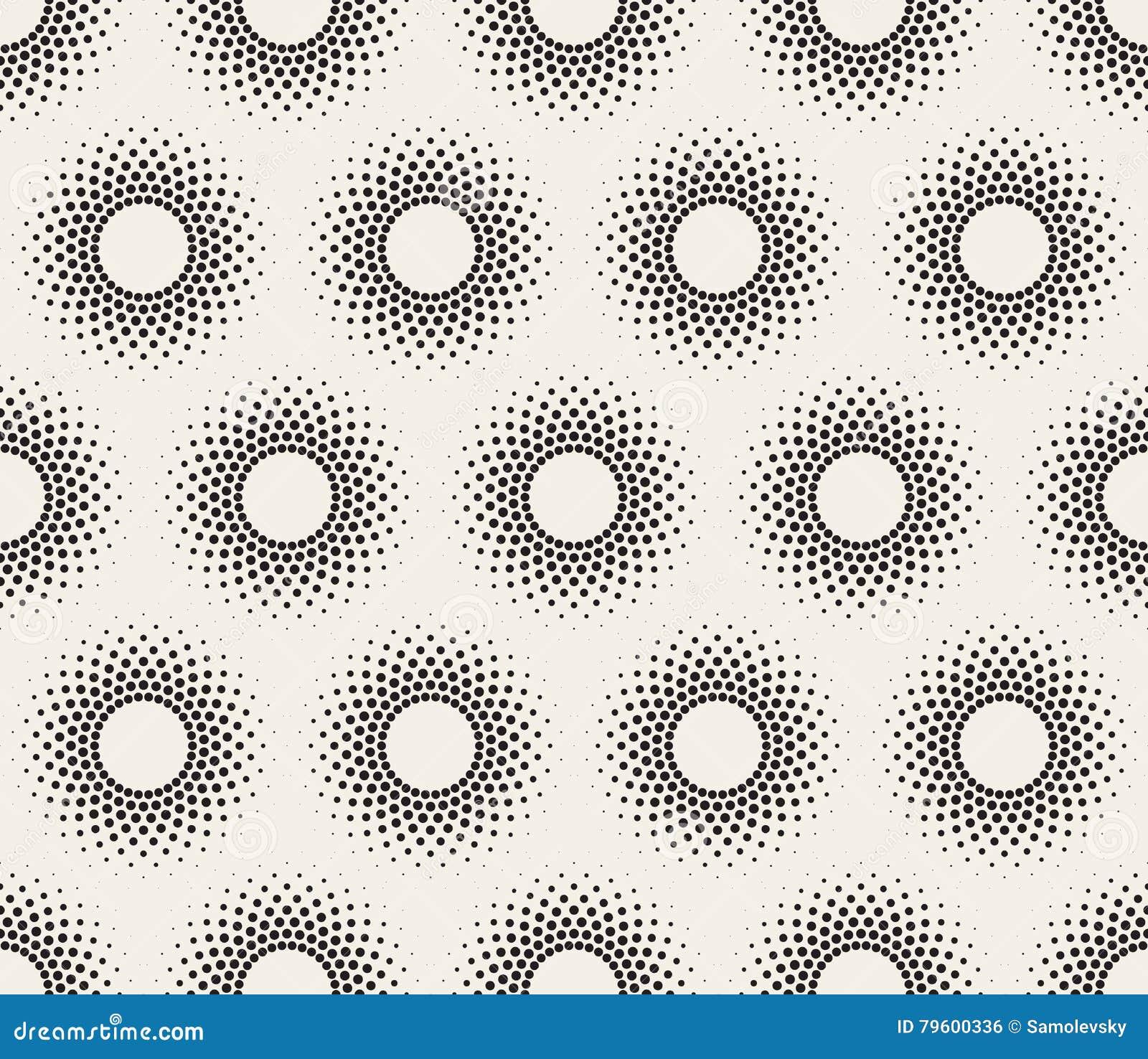 Teste padrão preto e branco sem emenda da reticulação do círculo do vetor