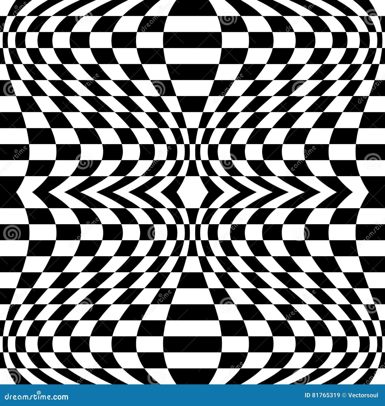 Teste padrão quadriculado com efeito da distorção