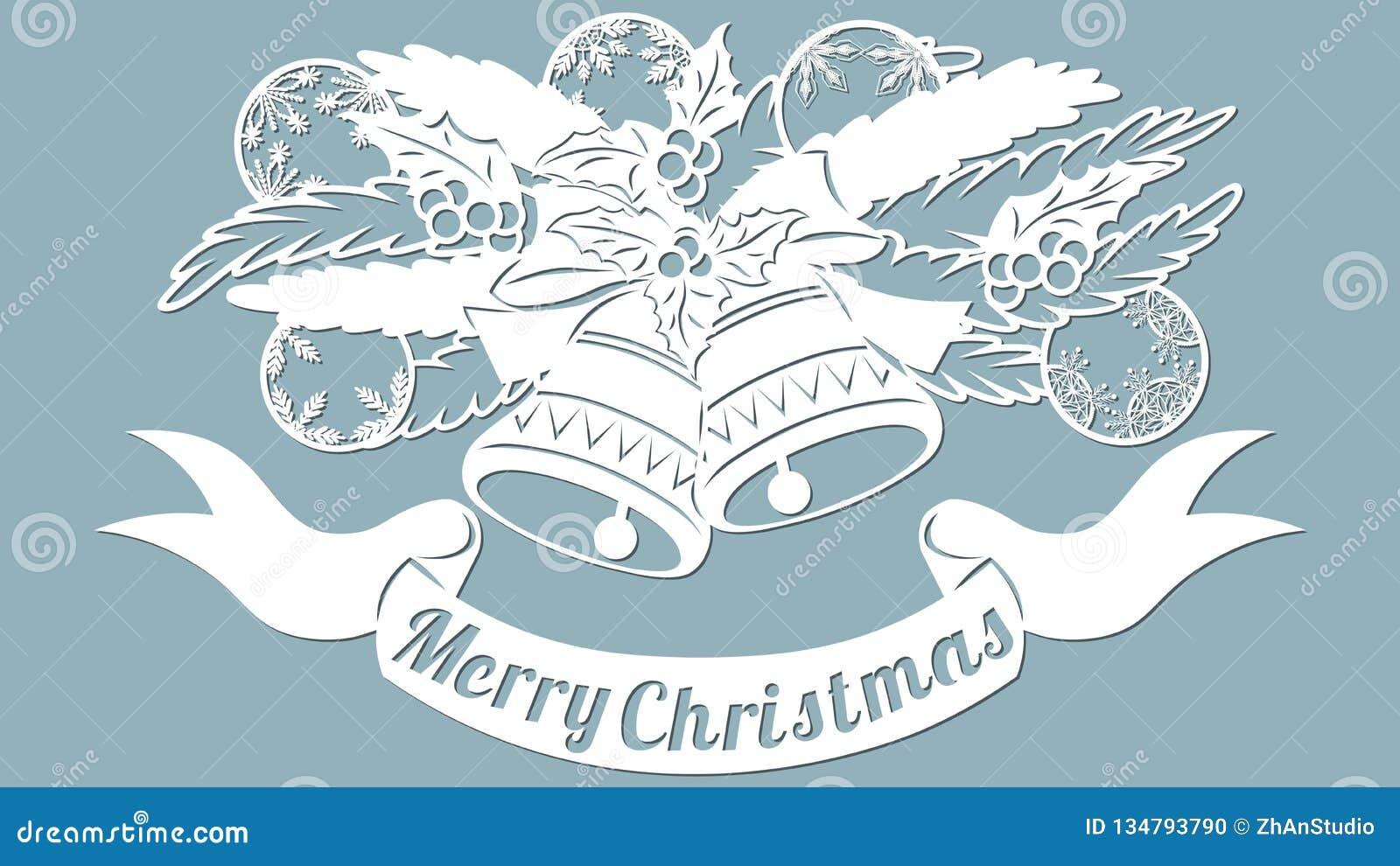 Teste padrão, ramo com brinquedos e sinos Convite do Natal com um brinquedo do Natal Vetor cliche Feliz Natal Para o corte do las