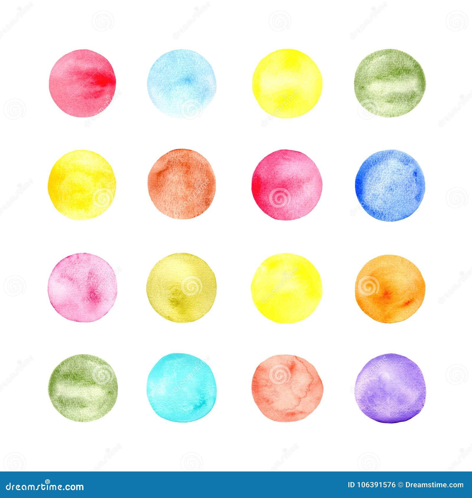 Teste padrão redondo da cor de água no fundo branco Globs de cores vívidas Ornamento de círculos coloridos