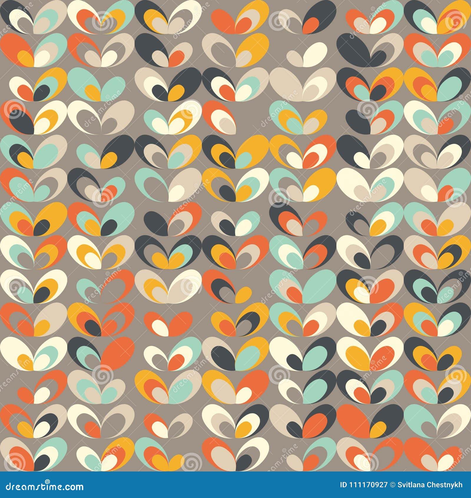Teste padrão retro geométrico do Midcentury, cores do vintage, papéis de parede retros