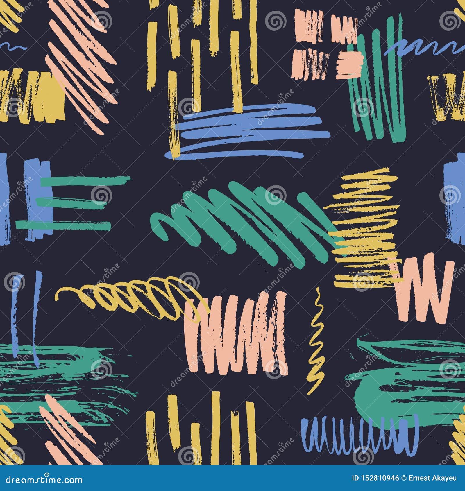 Teste padrão sem emenda abstrato com garrancho colorido, para lambuzar, pintar traços e cursos da escova no fundo preto creativo