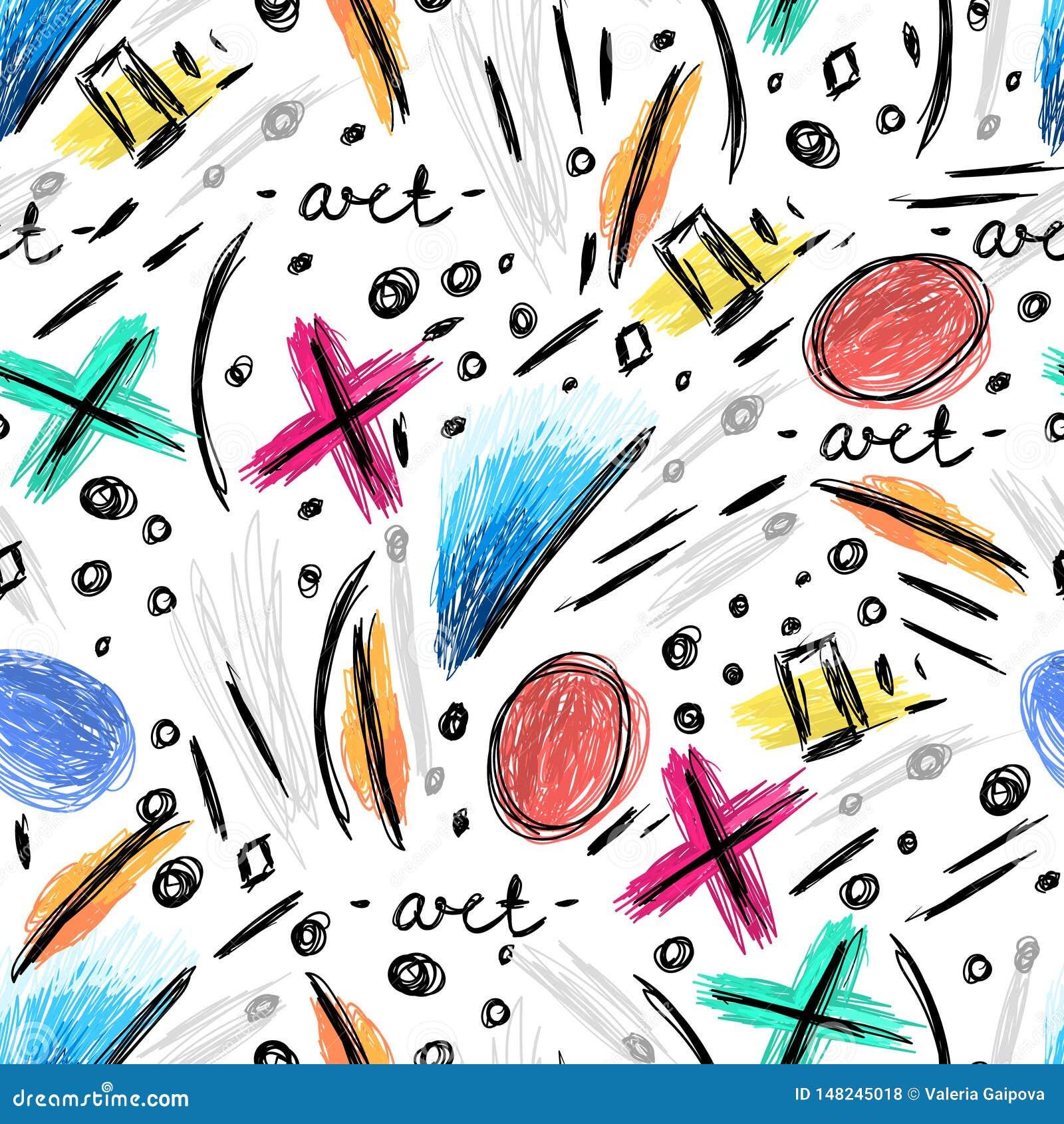 Teste padrão sem emenda abstrato com garranchos tirados mão, garatujas desalinhados Arte moderna Fundo creativo