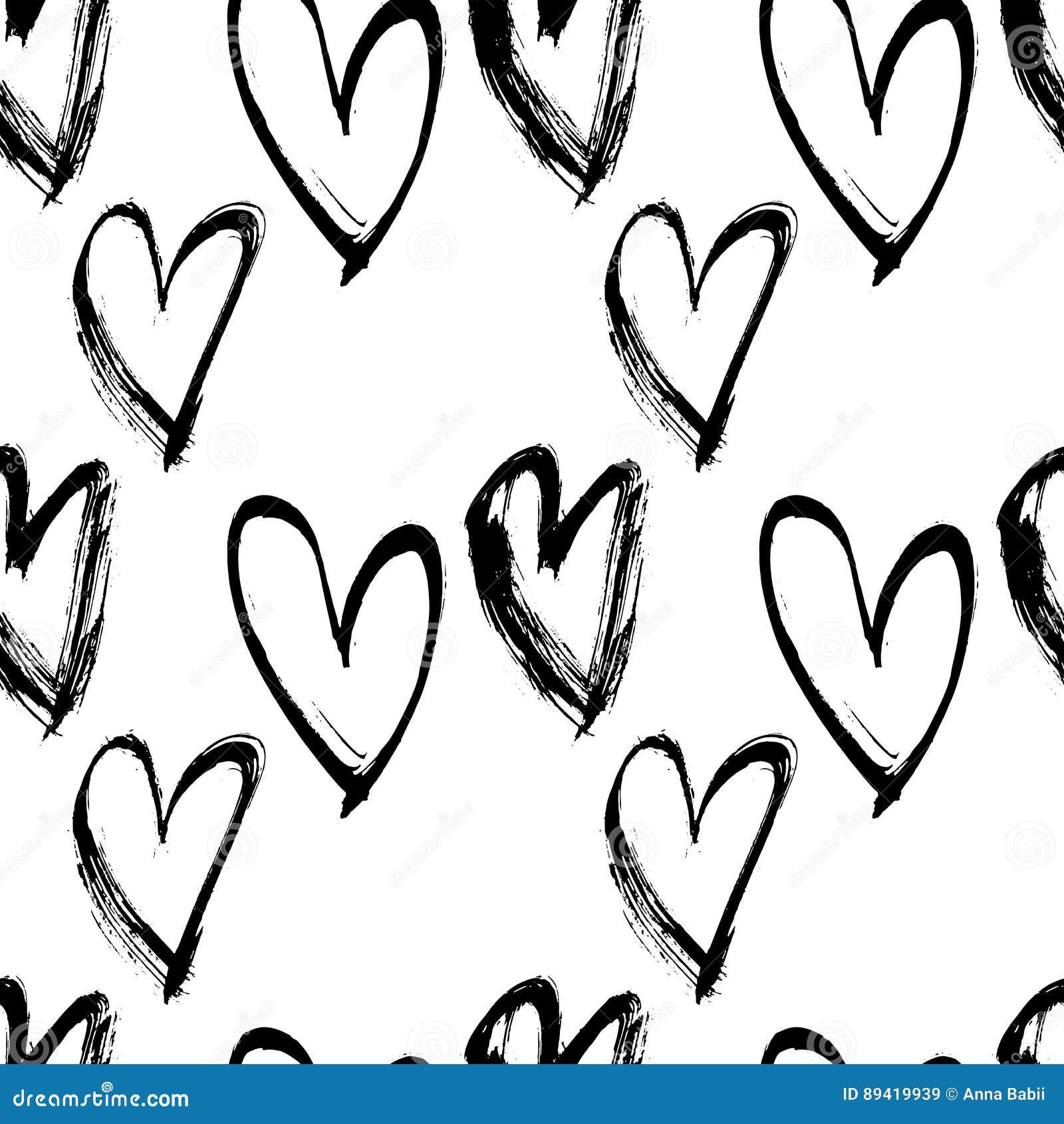 Teste padrão sem emenda abstrato do coração Ilustração da tinta Fundo preto e branco do vetor