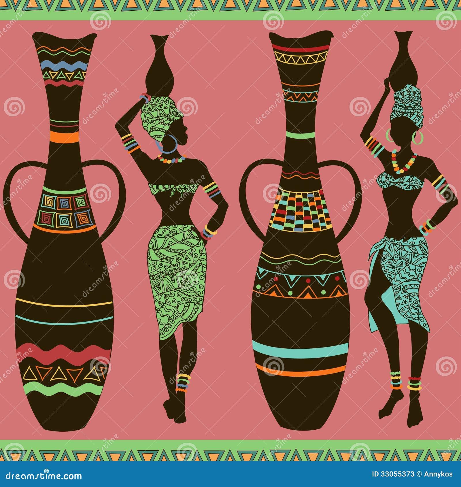 Teste padrão sem emenda africano das meninas e dos vasos