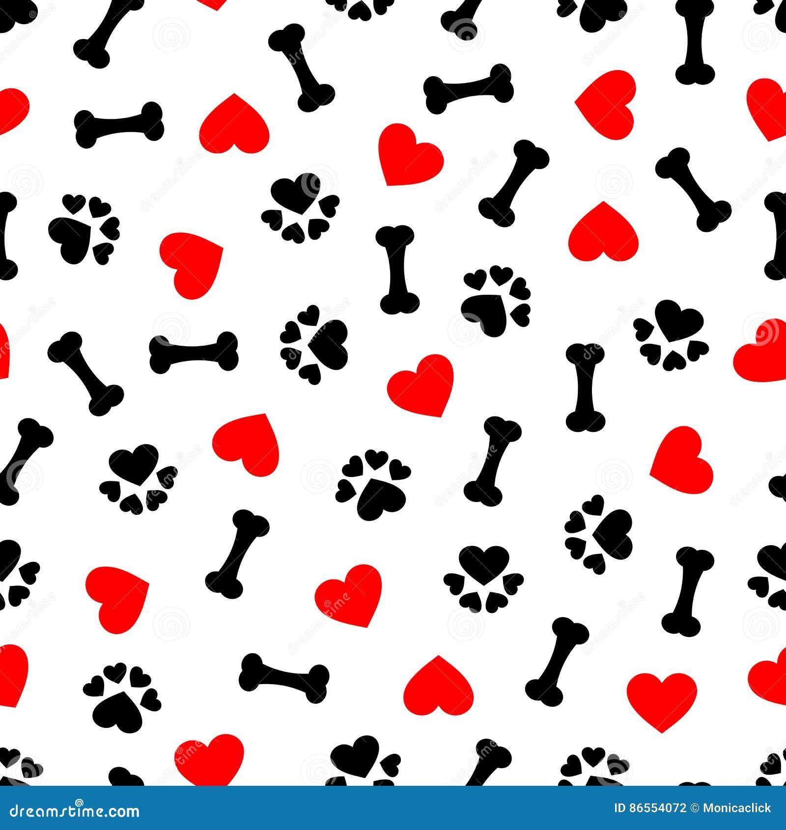 Teste padrão sem emenda bonito com osso de cão, cópia da pata e coração vermelho, fundo transparente