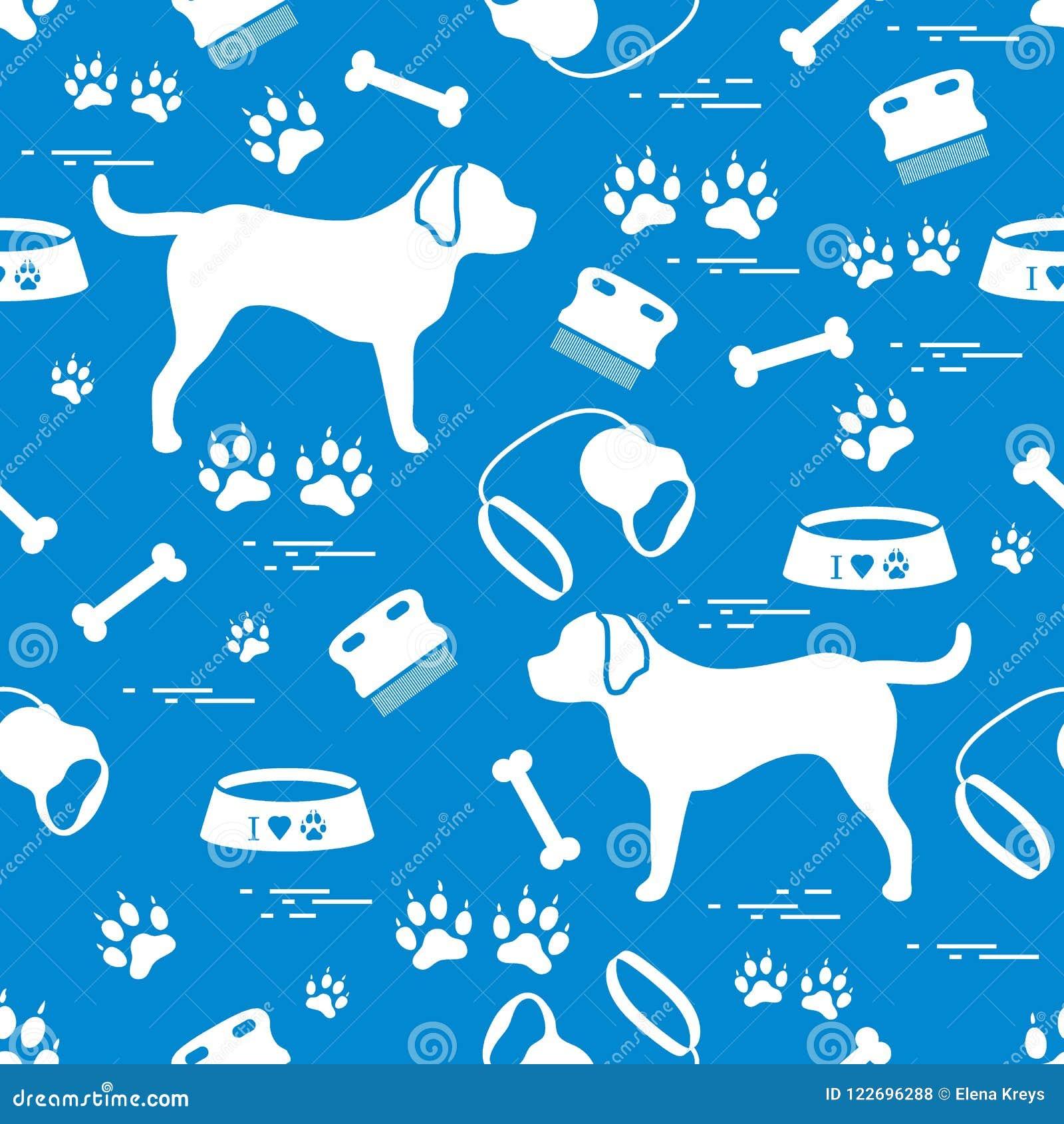 Teste padrão sem emenda bonito com silhueta do cão, bacia, traços, osso, b