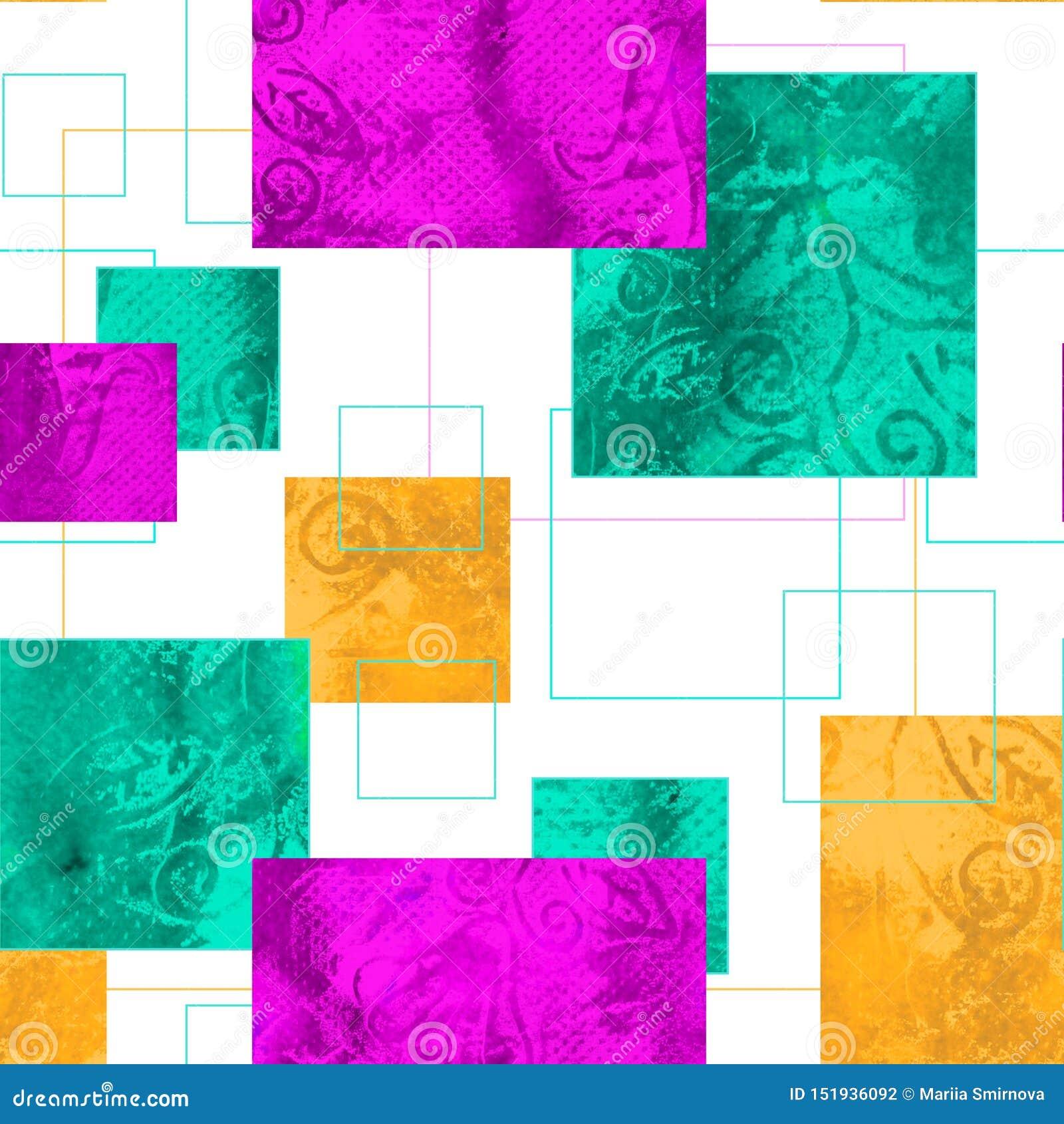 Teste padrão sem emenda brilhante com ornamento geométrico Textura do grunge da aquarela sob a forma dos quadrados Fundo para mat