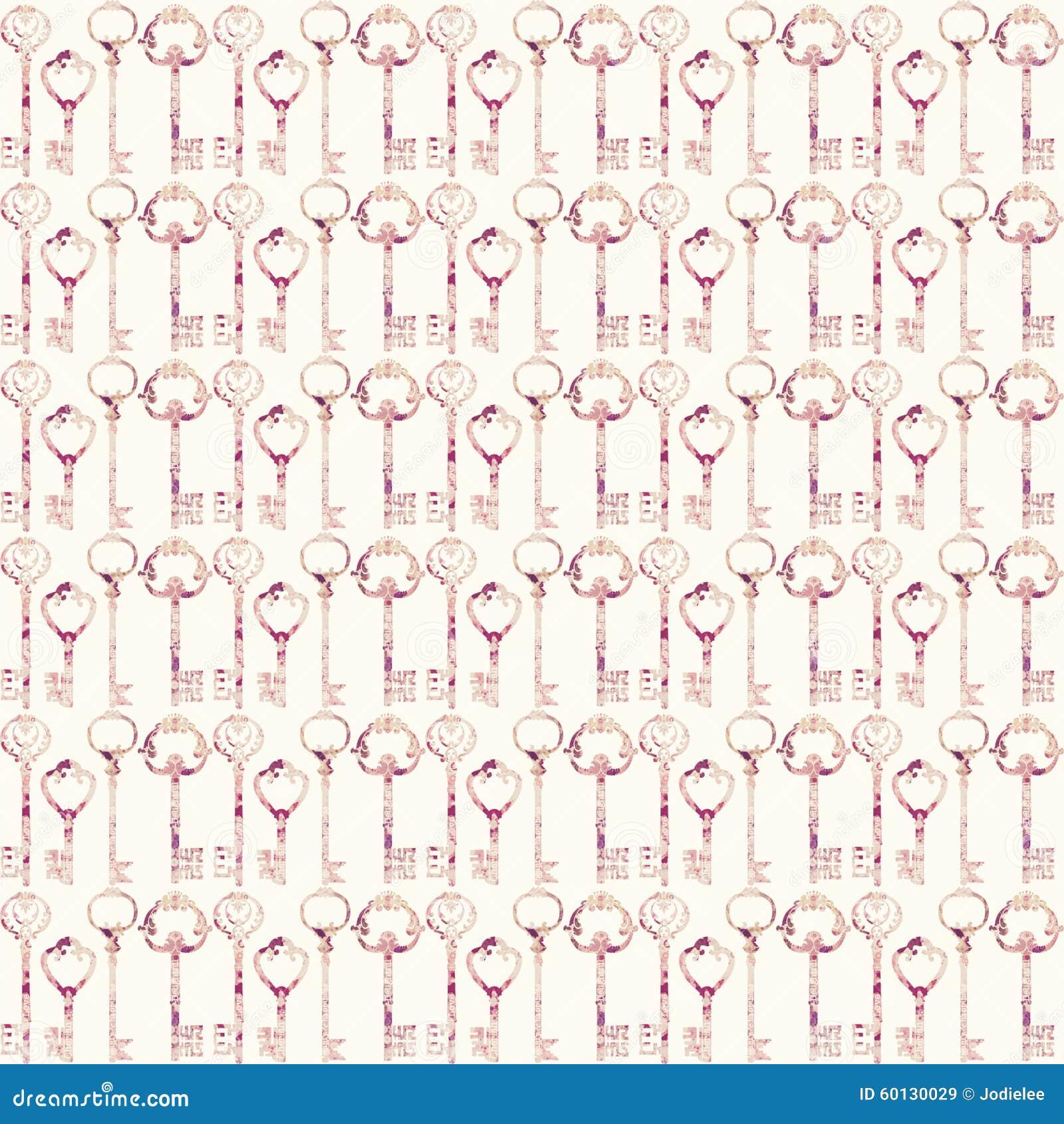 Teste padrão sem emenda chave cor-de-rosa antigo da repetição do vintage