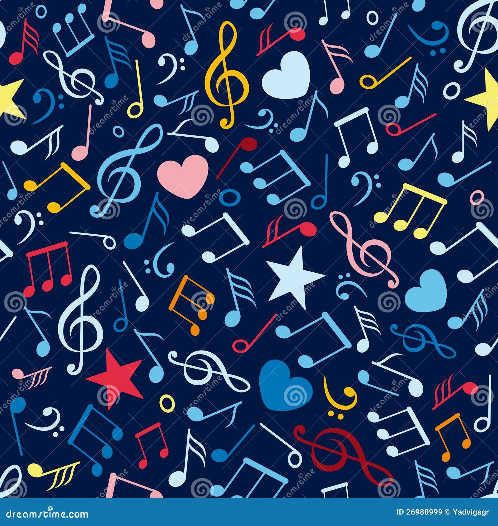 Teste padrão sem emenda colorido com notas da música