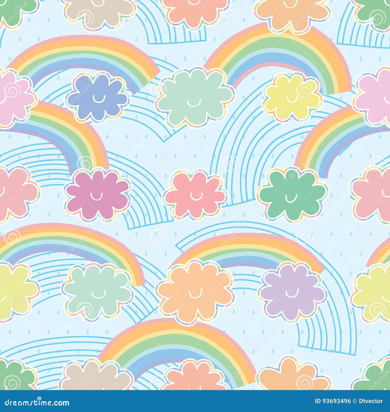 Teste padrão sem emenda colorido pastel da nuvem do arco-íris