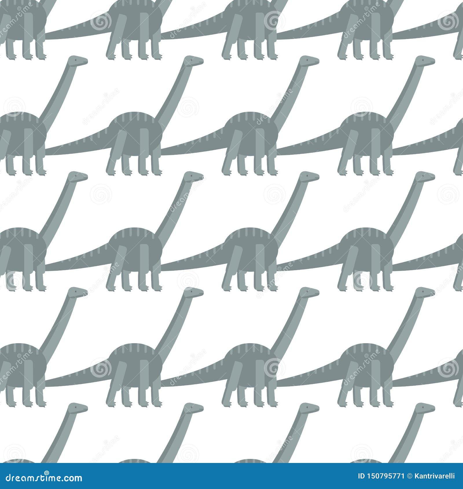 Teste padrão sem emenda com ícone liso simples do estilo do Diplodocus Fundo com dinossauro
