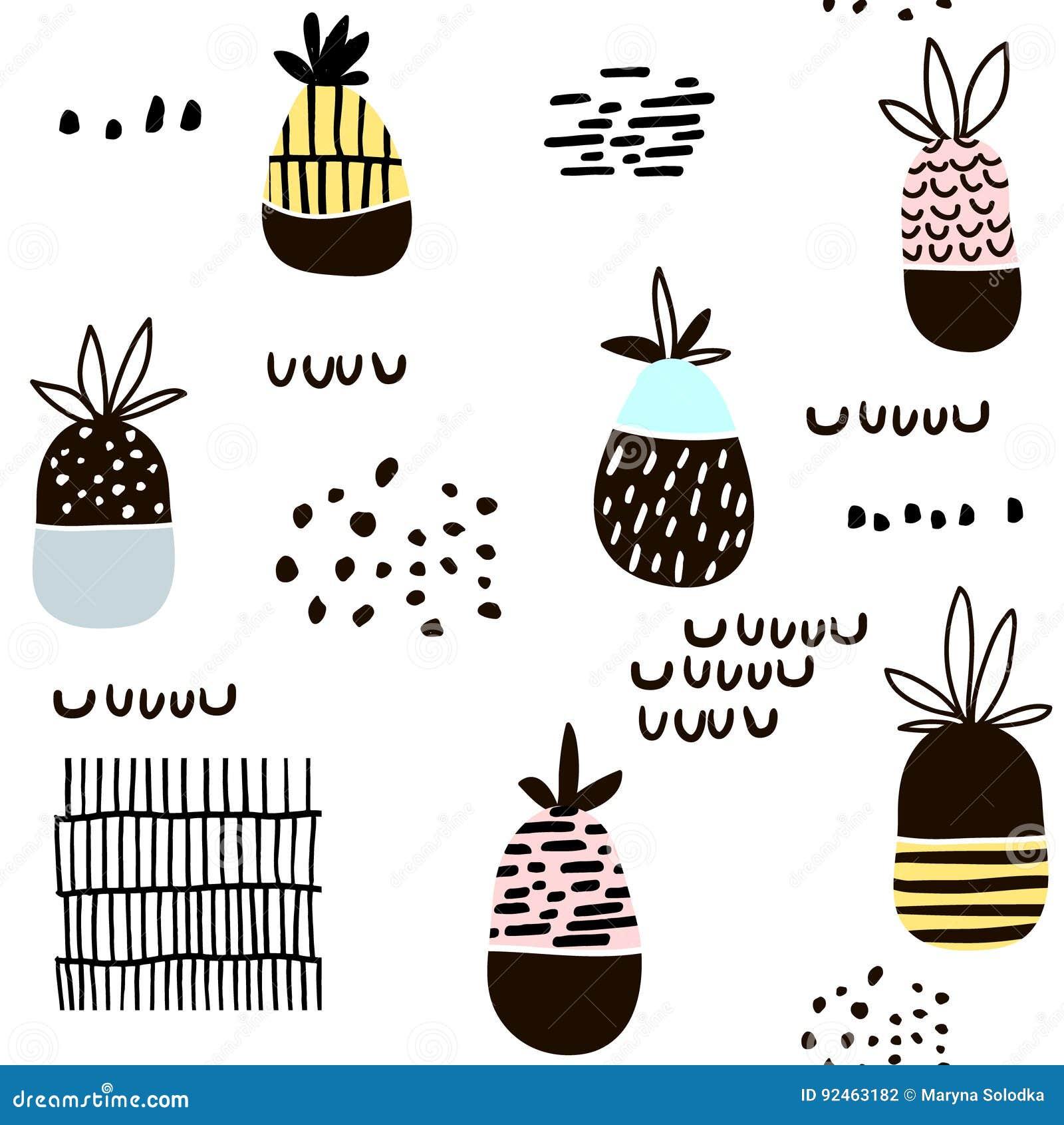 Teste padrão sem emenda com abacaxi Textura minimalistic moderna com formas tiradas mão e frutos exóticos Grande para a tela, mat