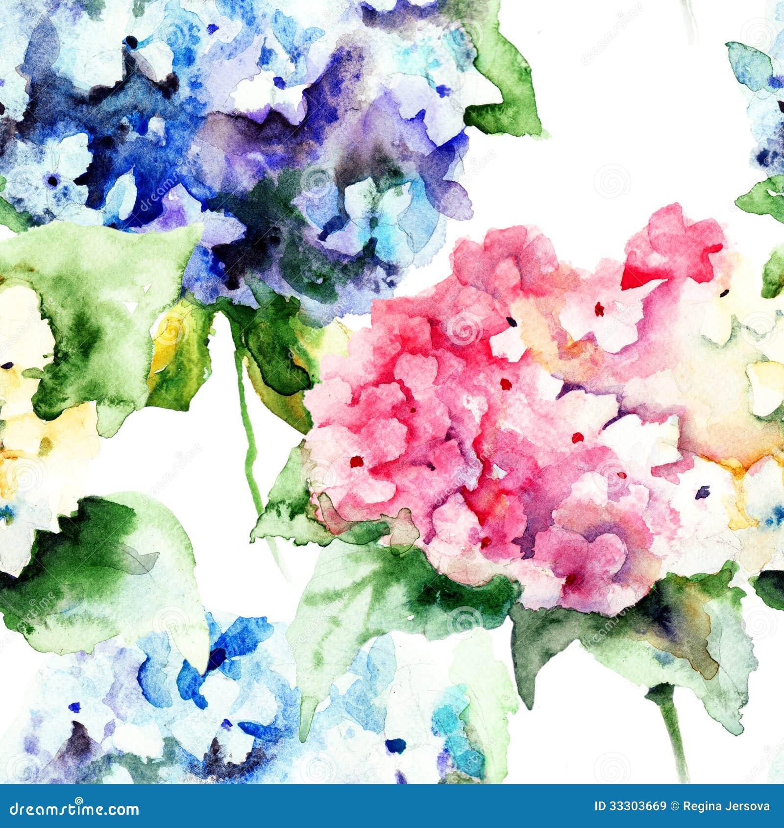 Teste padrão sem emenda com as flores bonitas do azul da hortênsia