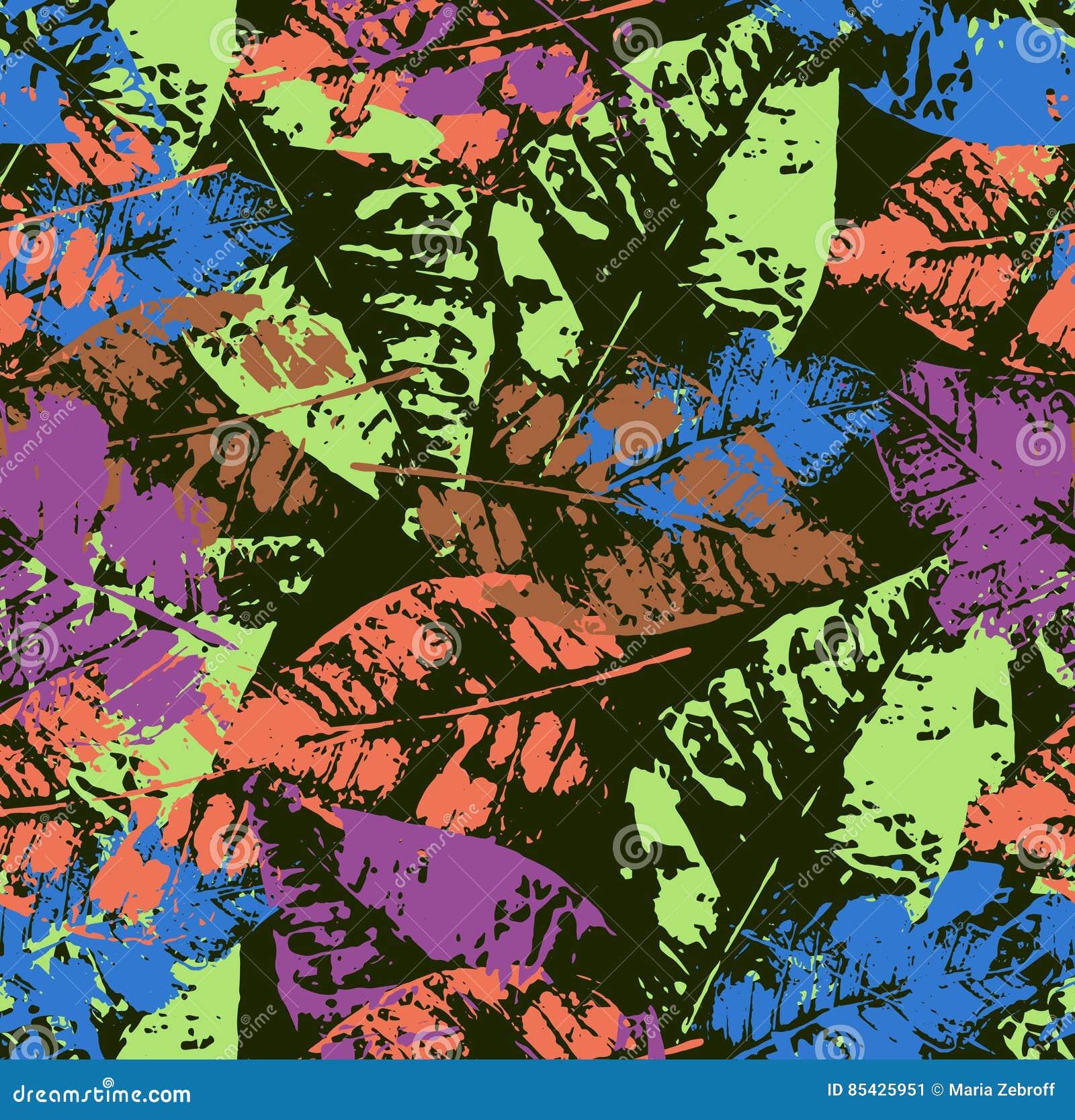 Teste padrão sem emenda com as folhas de outono coloridas