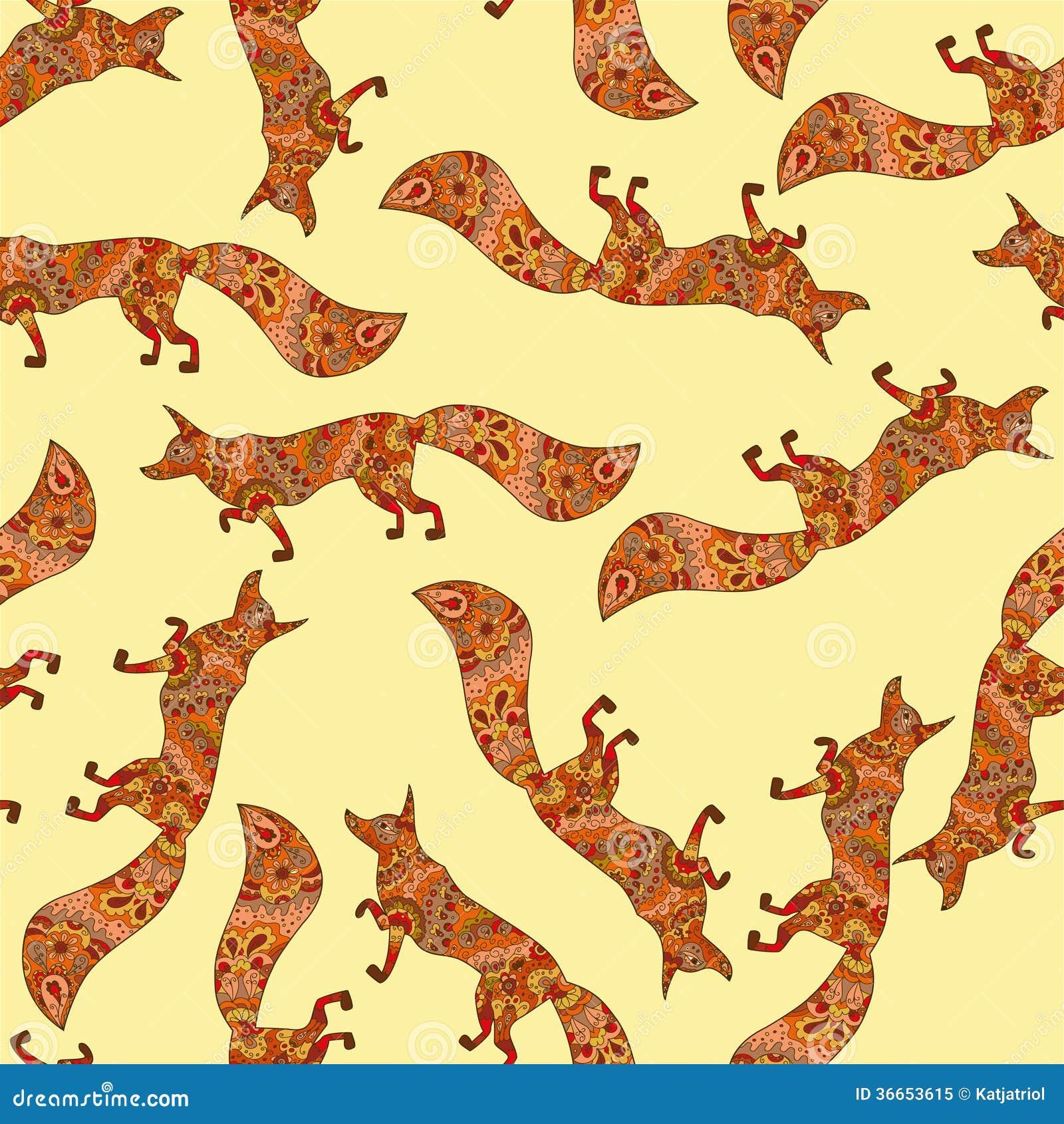 Teste padrão sem emenda com as raposas tiradas mão