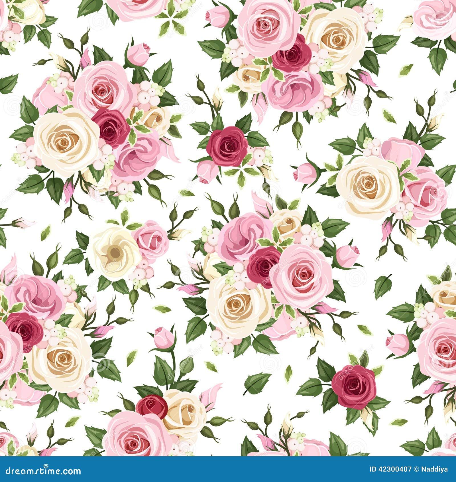 Teste padrão sem emenda com as rosas vermelhas, cor-de-rosa e brancas Ilustração do vetor