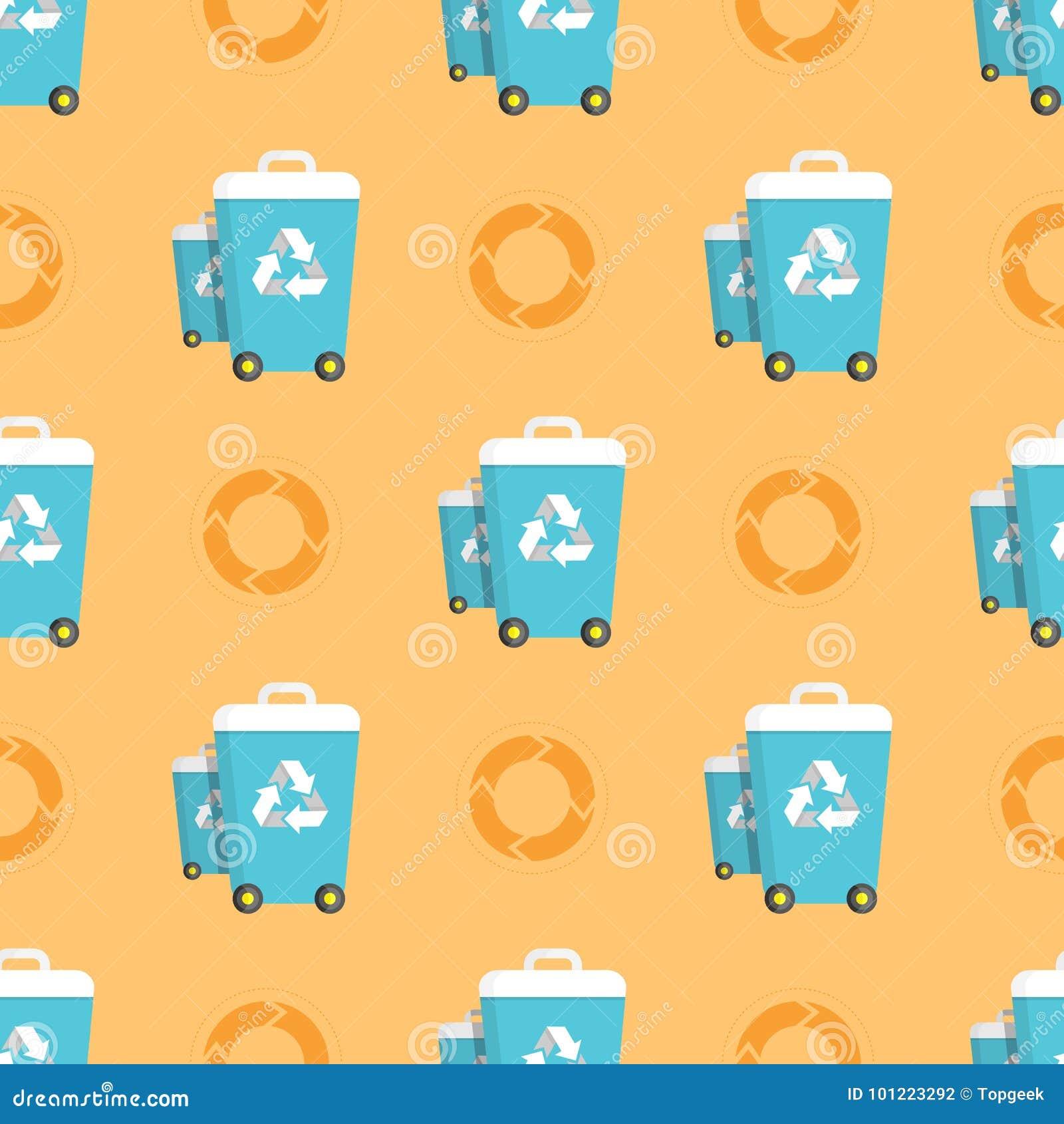 Teste padrão sem emenda com baldes do lixo e círculos da reciclagem