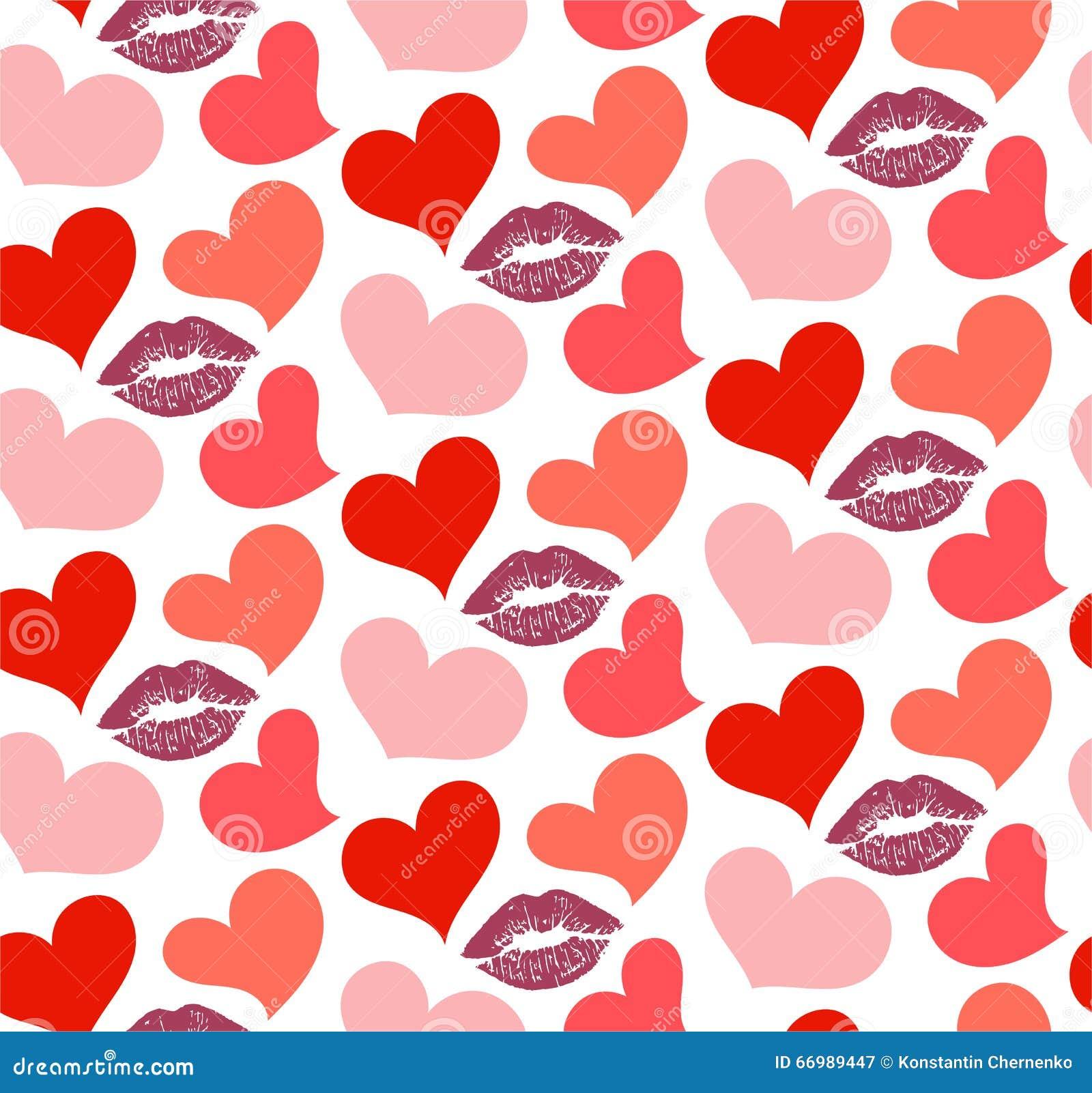 Teste padrão sem emenda com beijos e corações