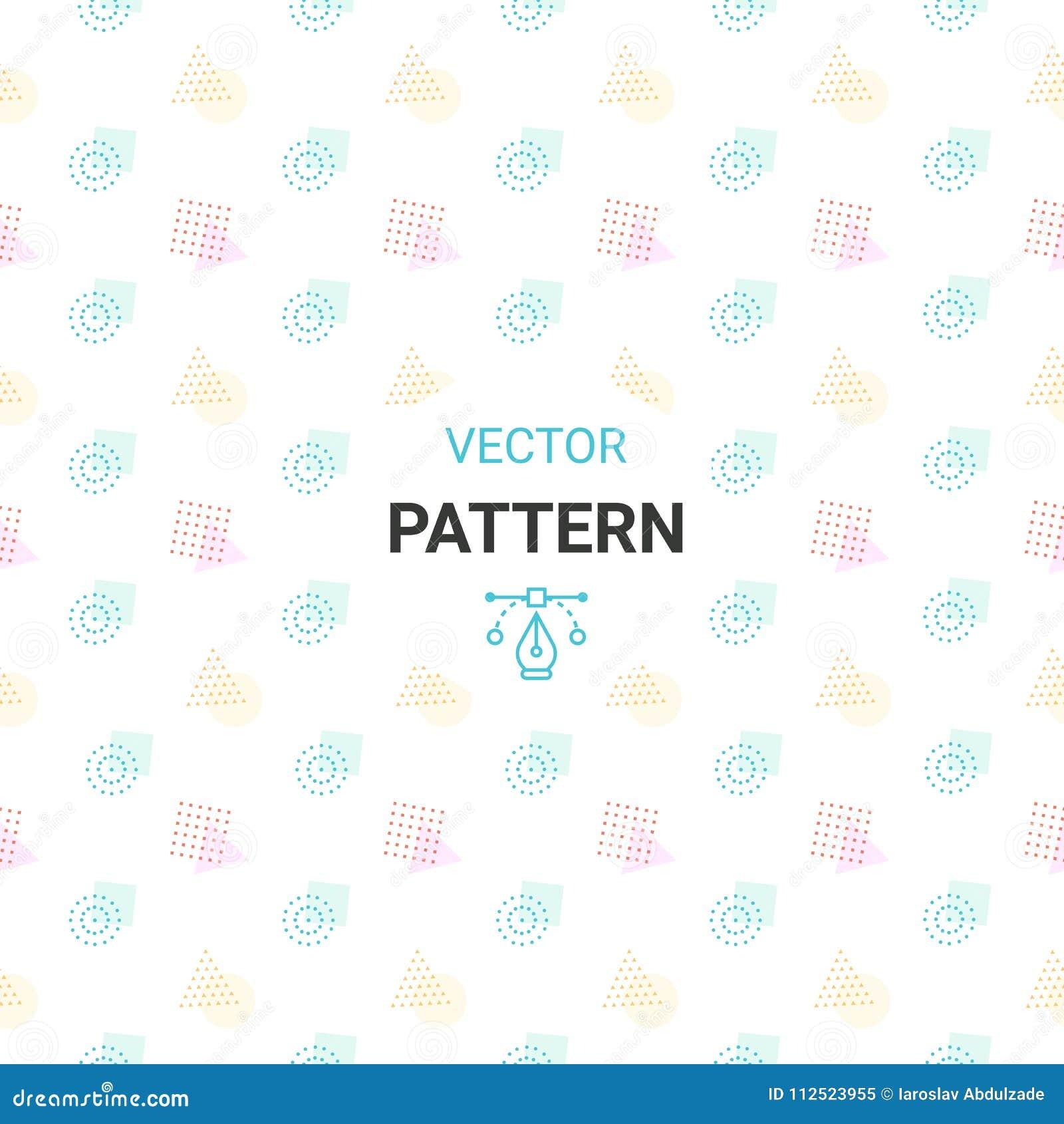 Teste padrão sem emenda com círculos, quadrado, triângulo e hexágono de cores frescas em um fundo branco