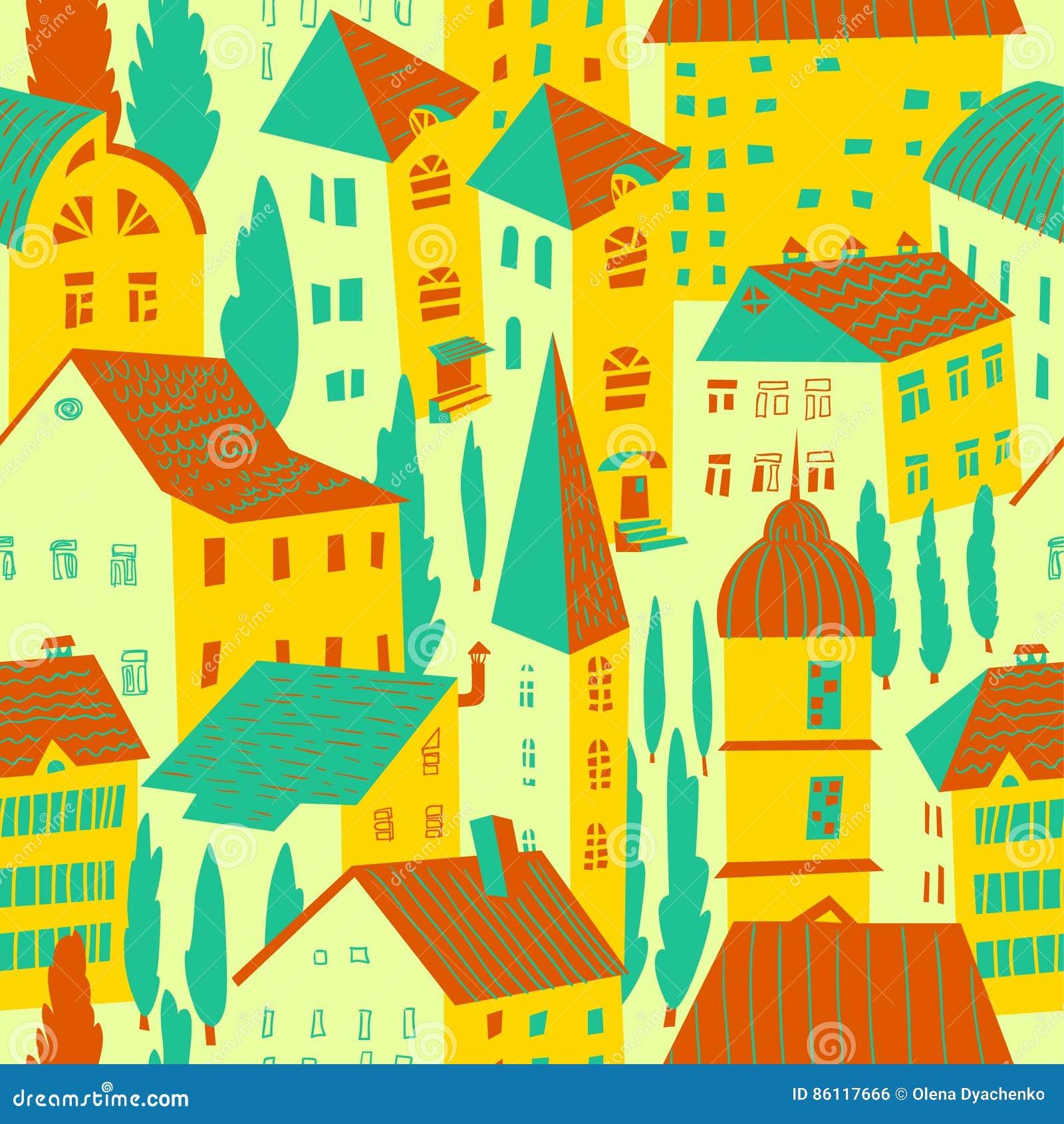 Teste padrão sem emenda com casas Ilustração bonito do vetor da cidade arco