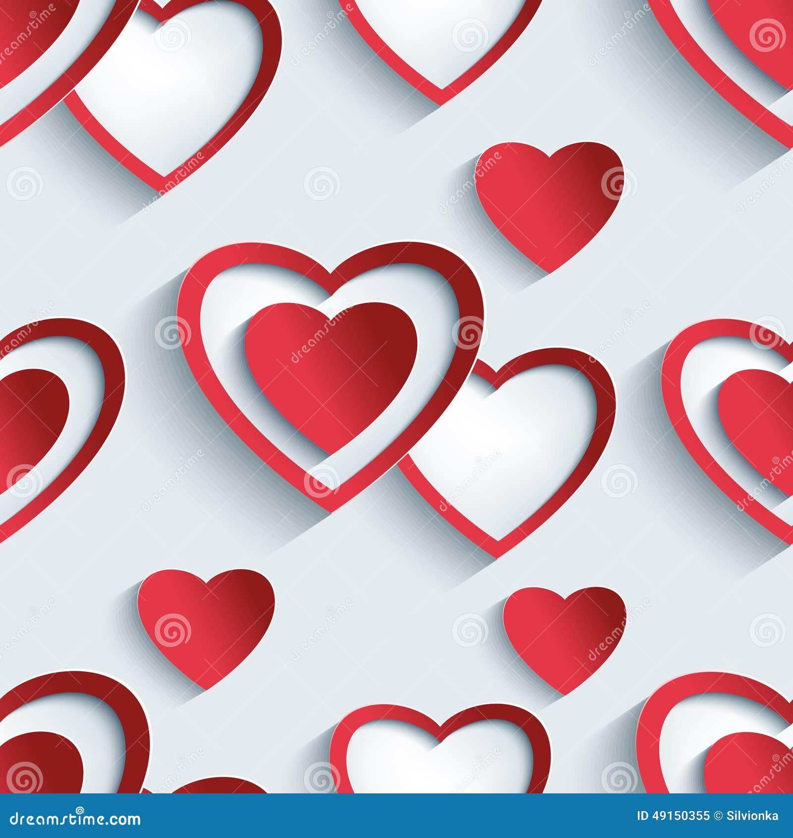Teste padrão sem emenda com corações 3d para o Valentim do dia