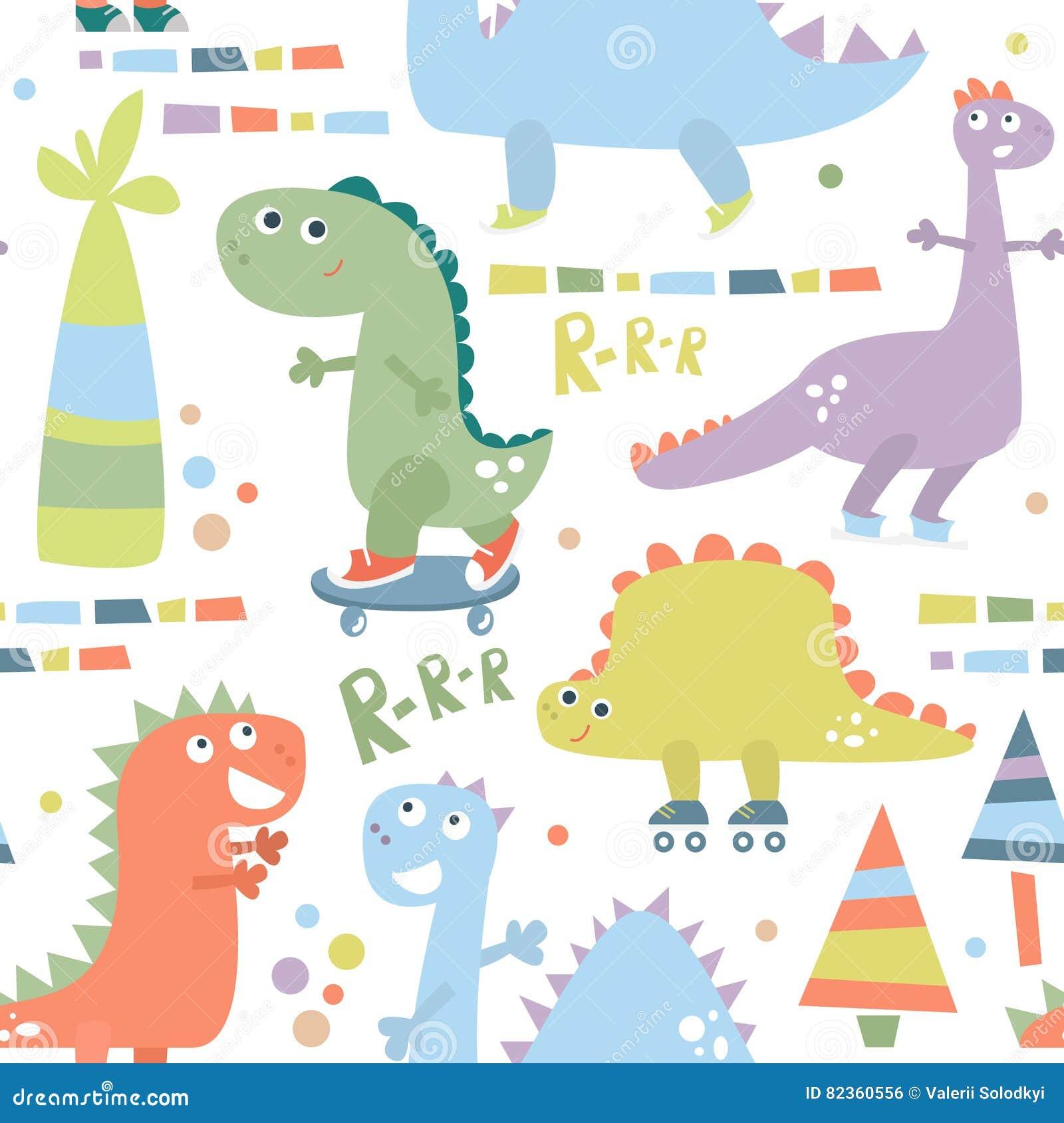 Teste padrão sem emenda com dinossauro Fundo para a matéria têxtil, envolvendo, tela do bebê, papel de parede Ilustração do vetor