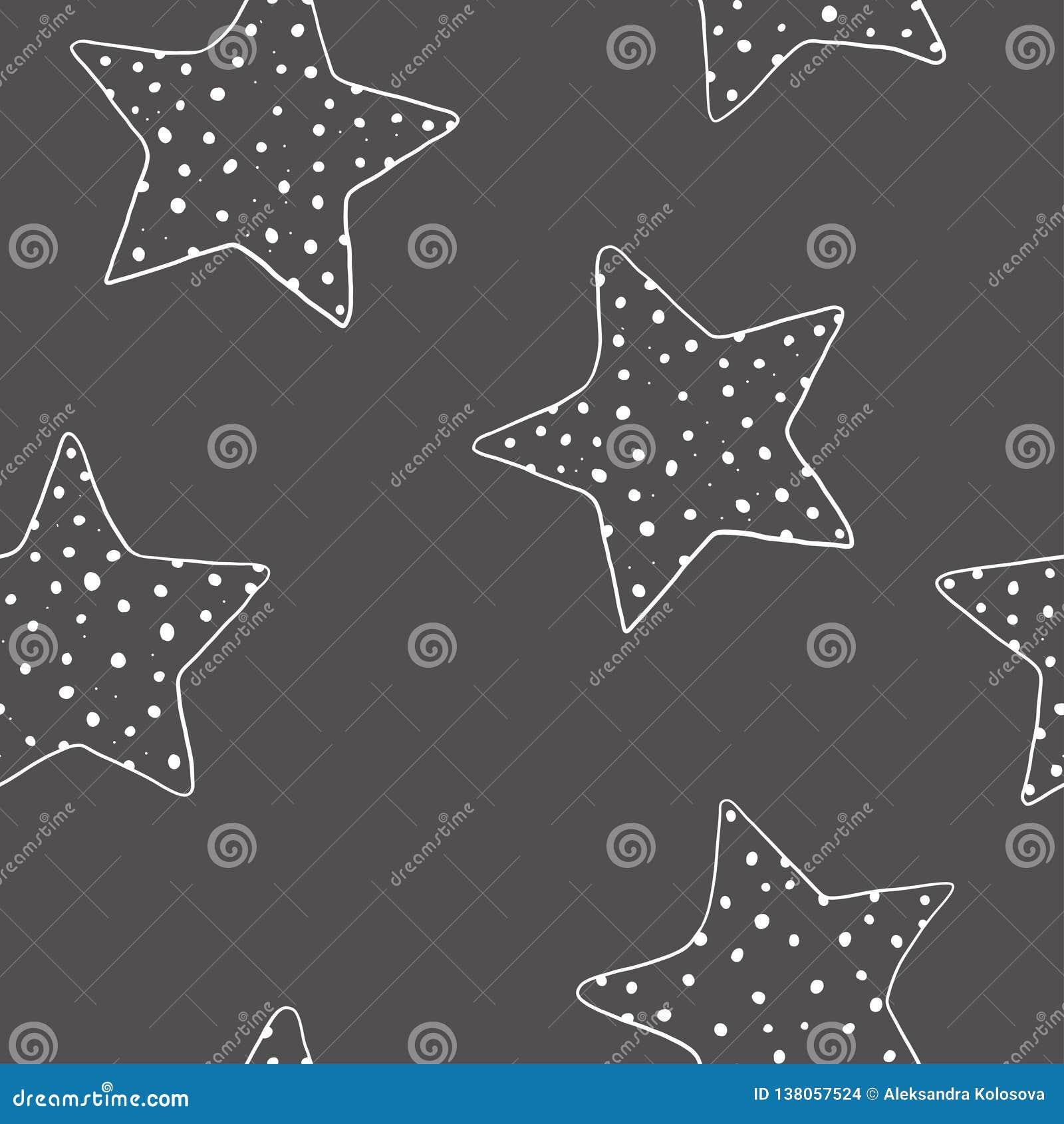 Teste padrão sem emenda com estrelas desenhados à mão estrelas Cinco-aguçados em um fundo escuro Ilustração do vetor no estilo do