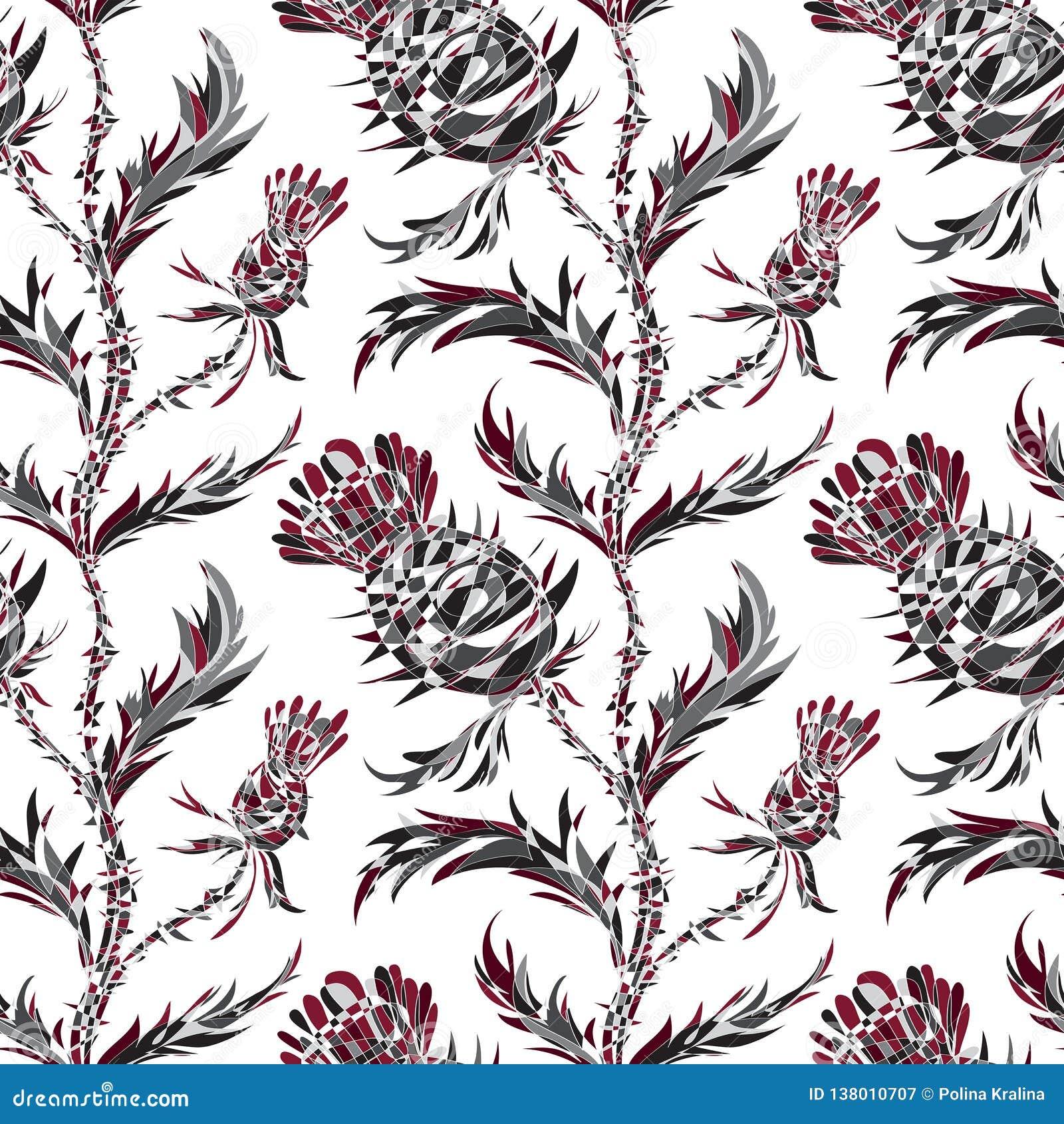 Teste padrão sem emenda com flores estilizados e folhas do cardo